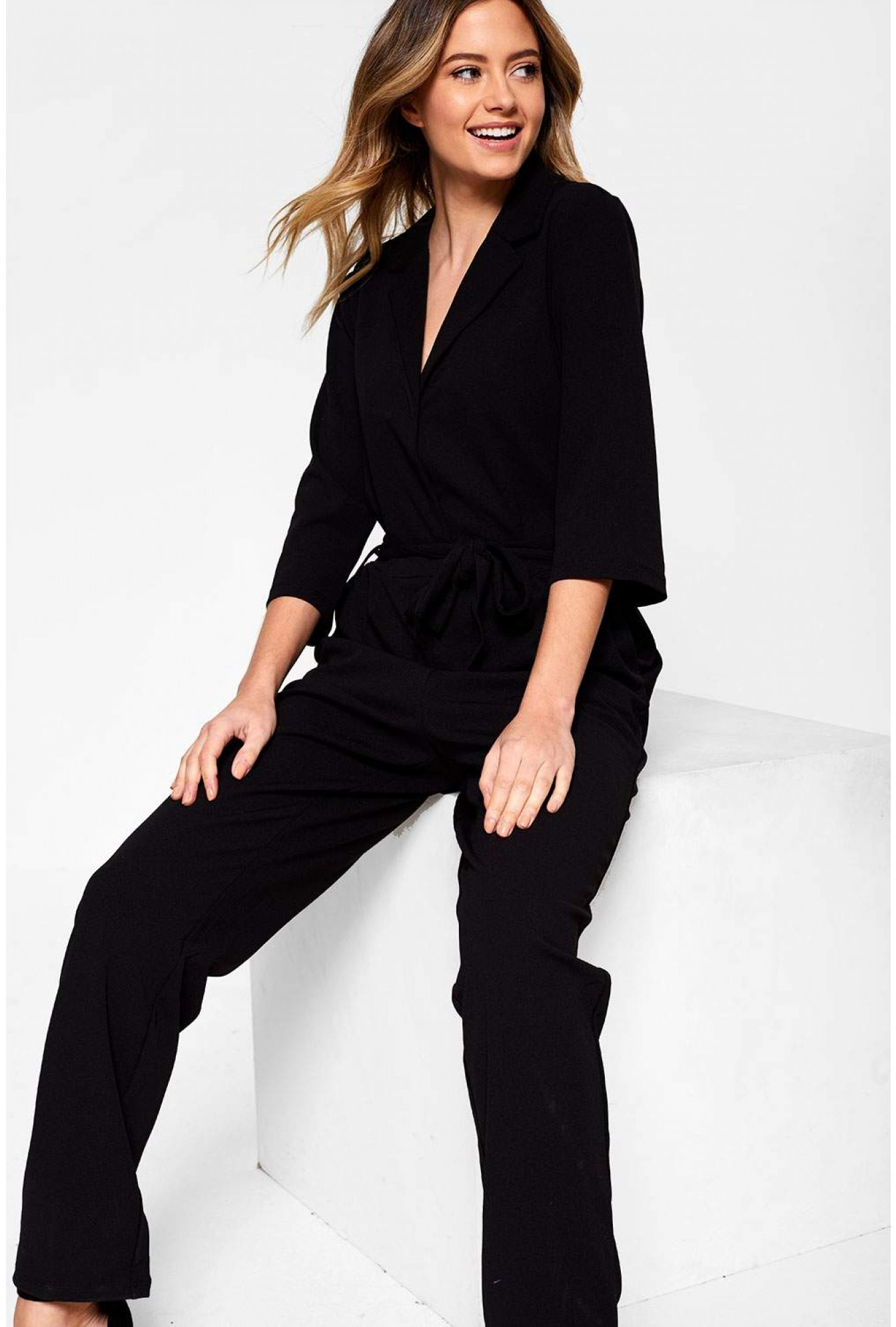 60088f99 Jacqueline De Yong Cammy Jumpsuit with Self Belt in Black   iCLOTHING