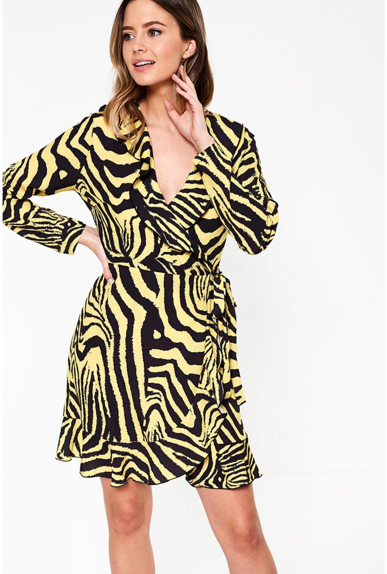 ab1c04211ff4b John Zack Kate Frill Wrap Dress in Purple Leopard Print