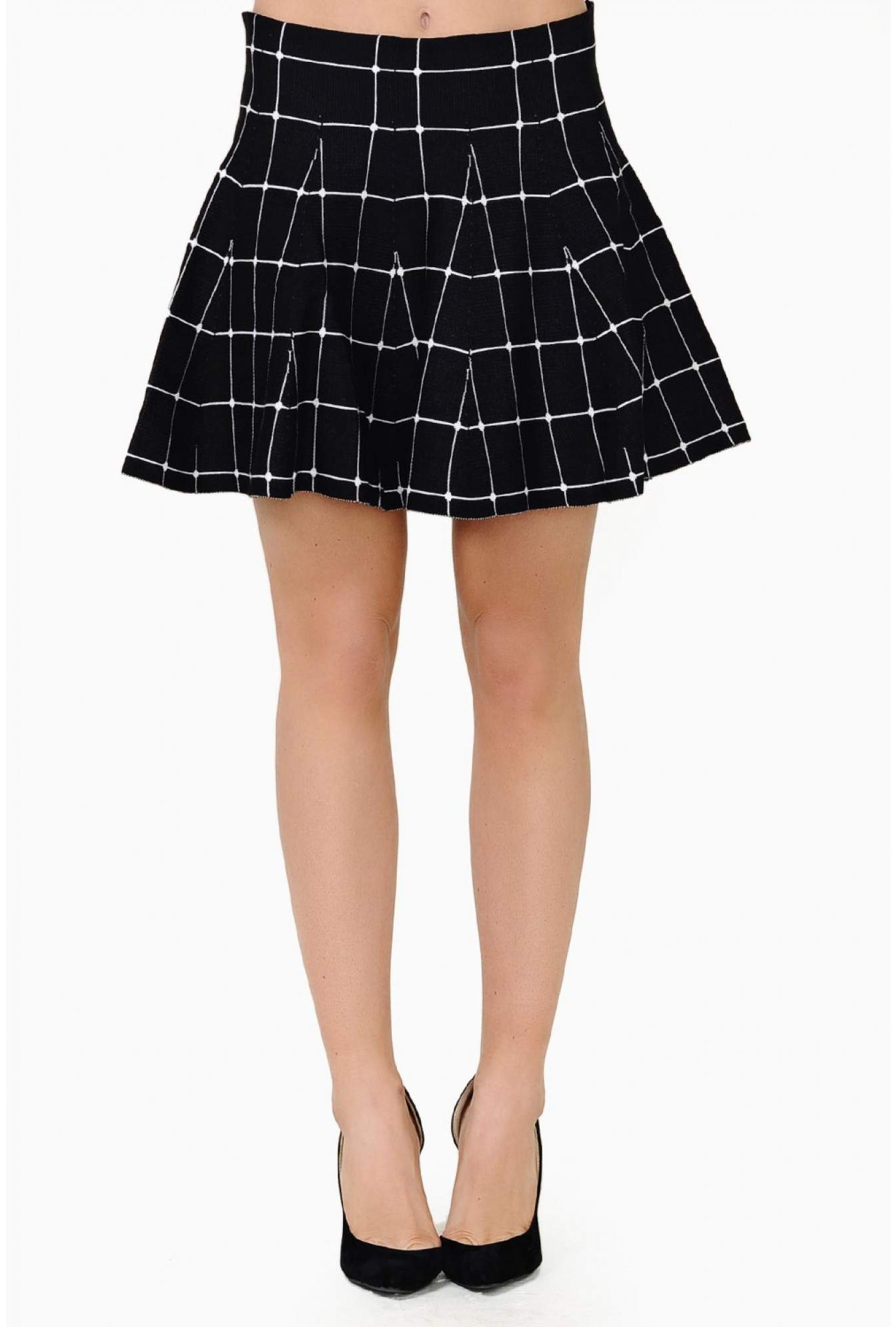 3ff826a7c Angel Paris Rose Check Knitted Skater Skirt | iCLOTHING