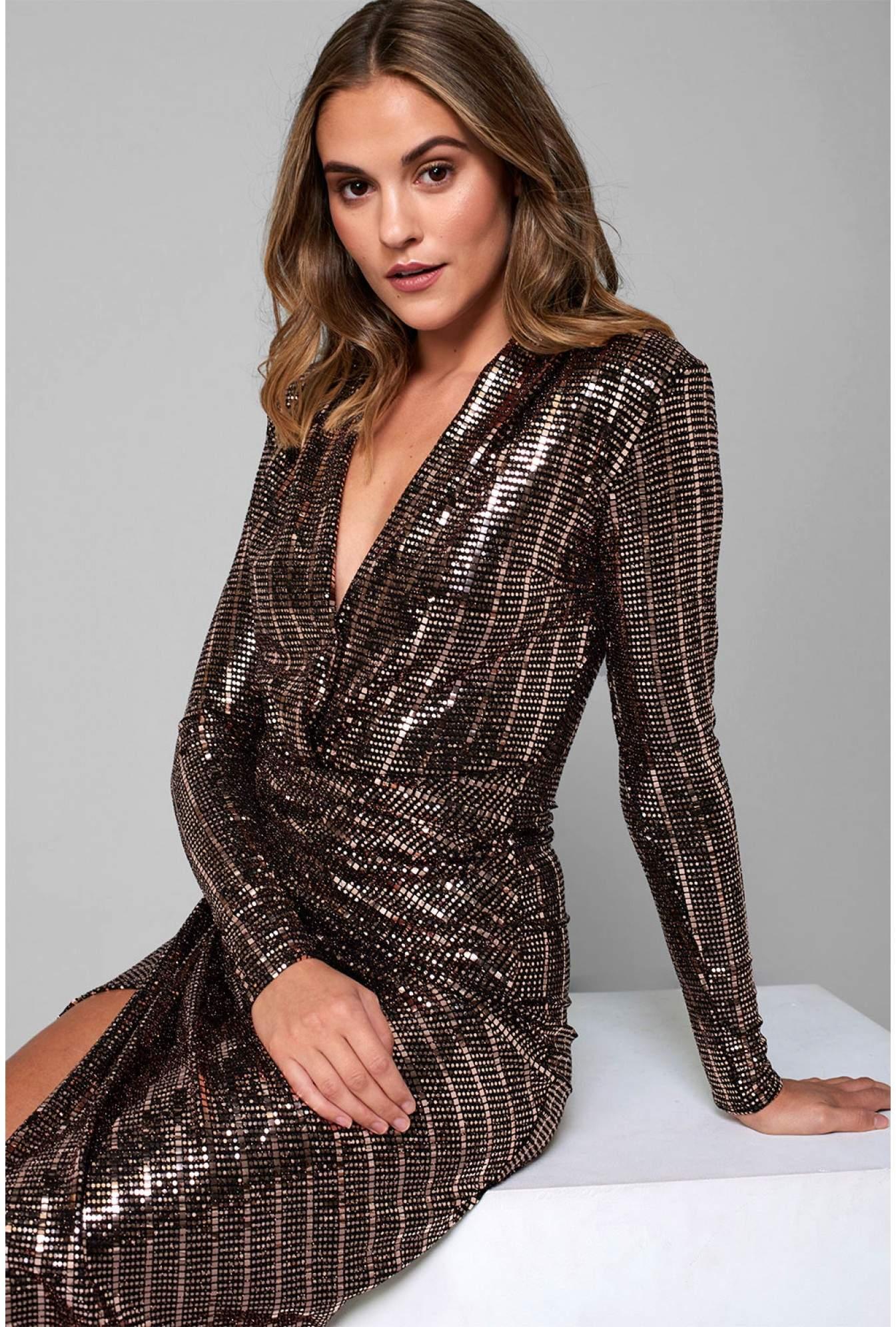 37dac4a211 John Zack Kim Deep V Midi Dress in Gold Sequin