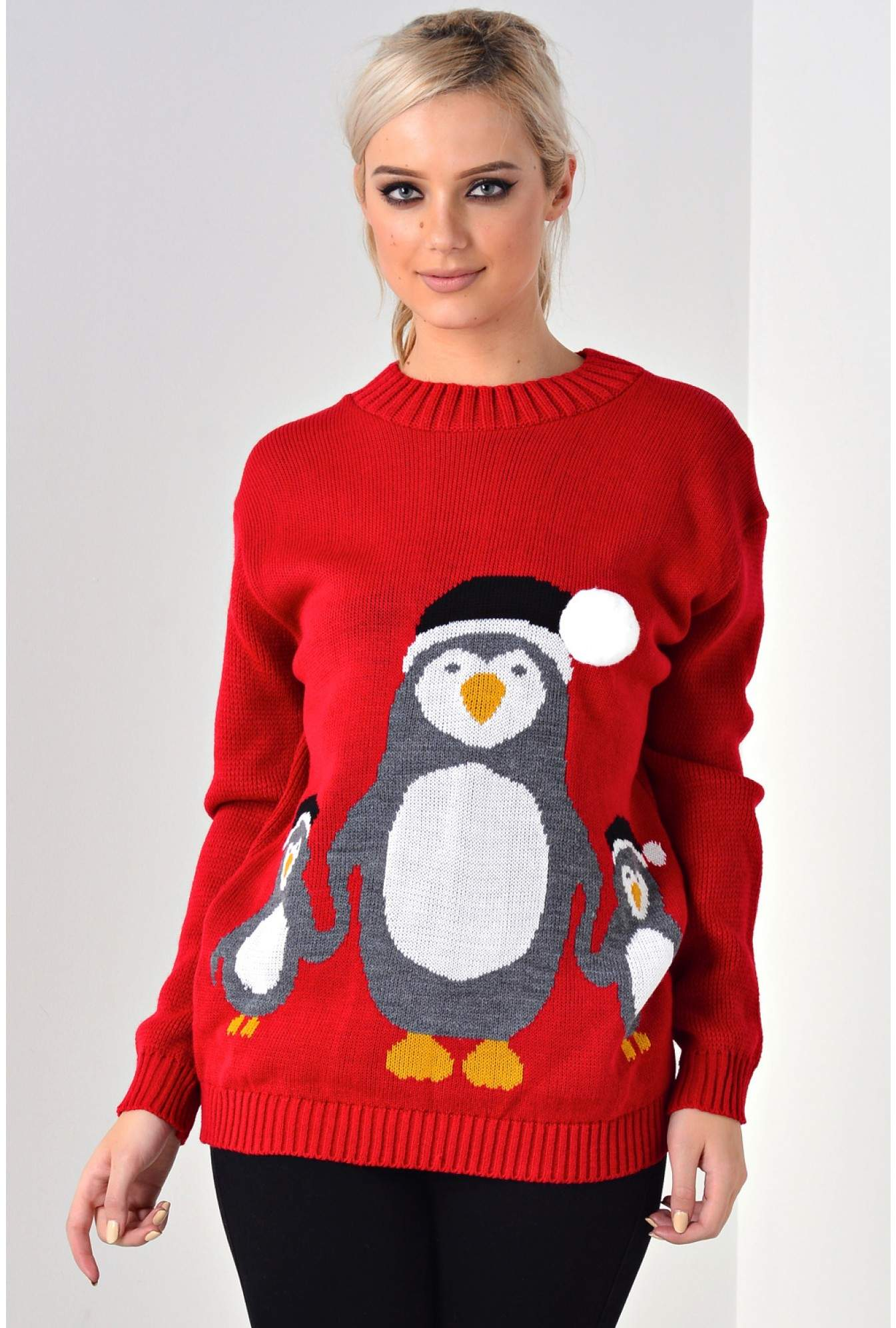 2453cbe8185e More Views. Happy Penguin 3D Christmas Jumper in Red