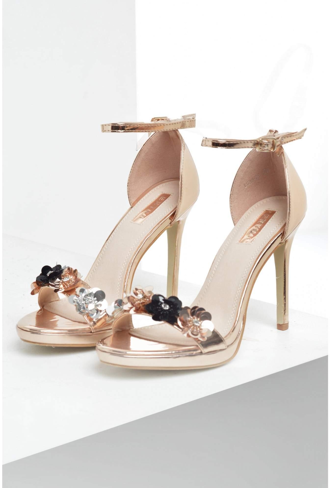 e511328586a11 Sole City Orli Flower Embellished Sandals in Rose Gold