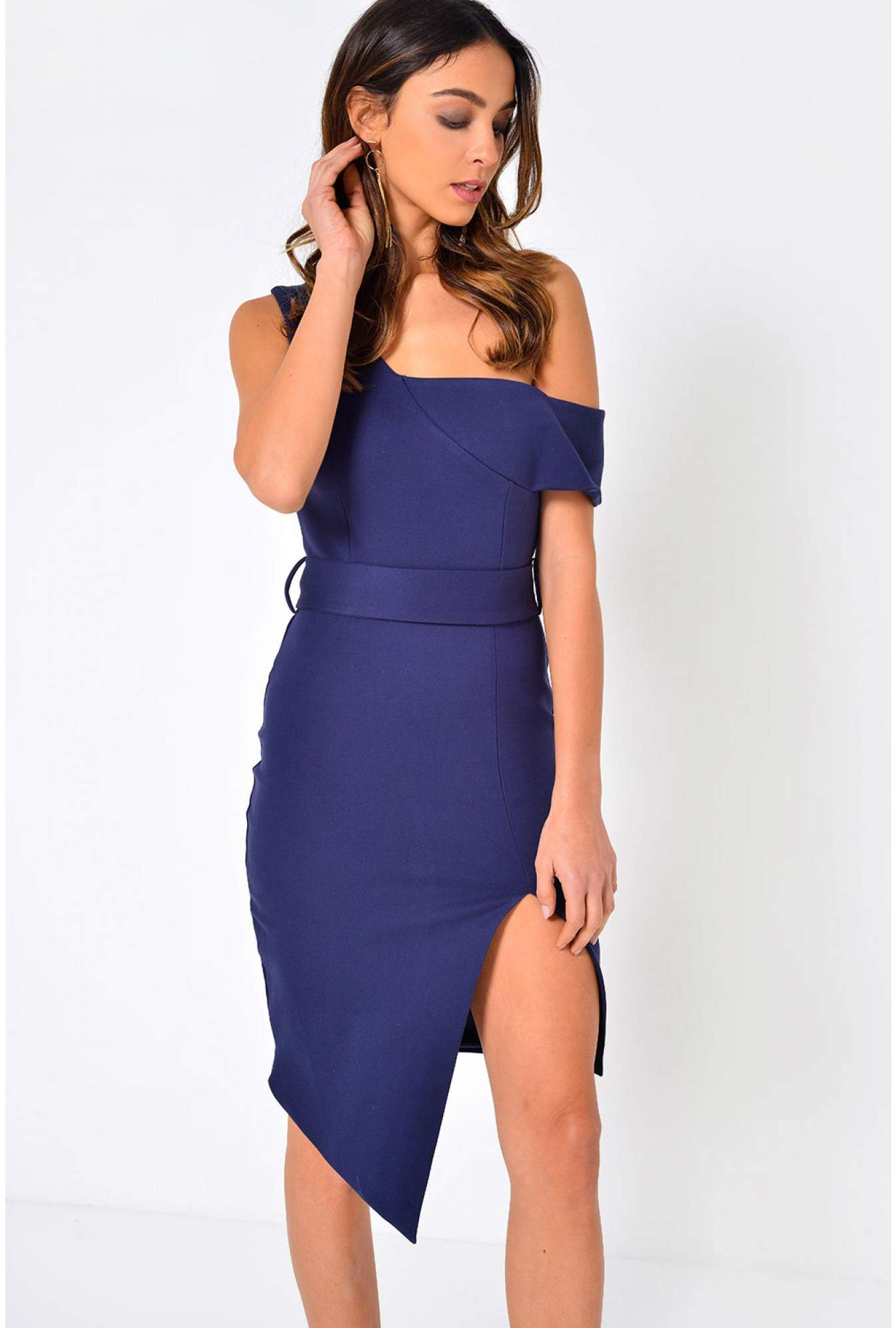 744f772b49a6 Soho Market Talia Off Shoulder Midi Dress in Navy