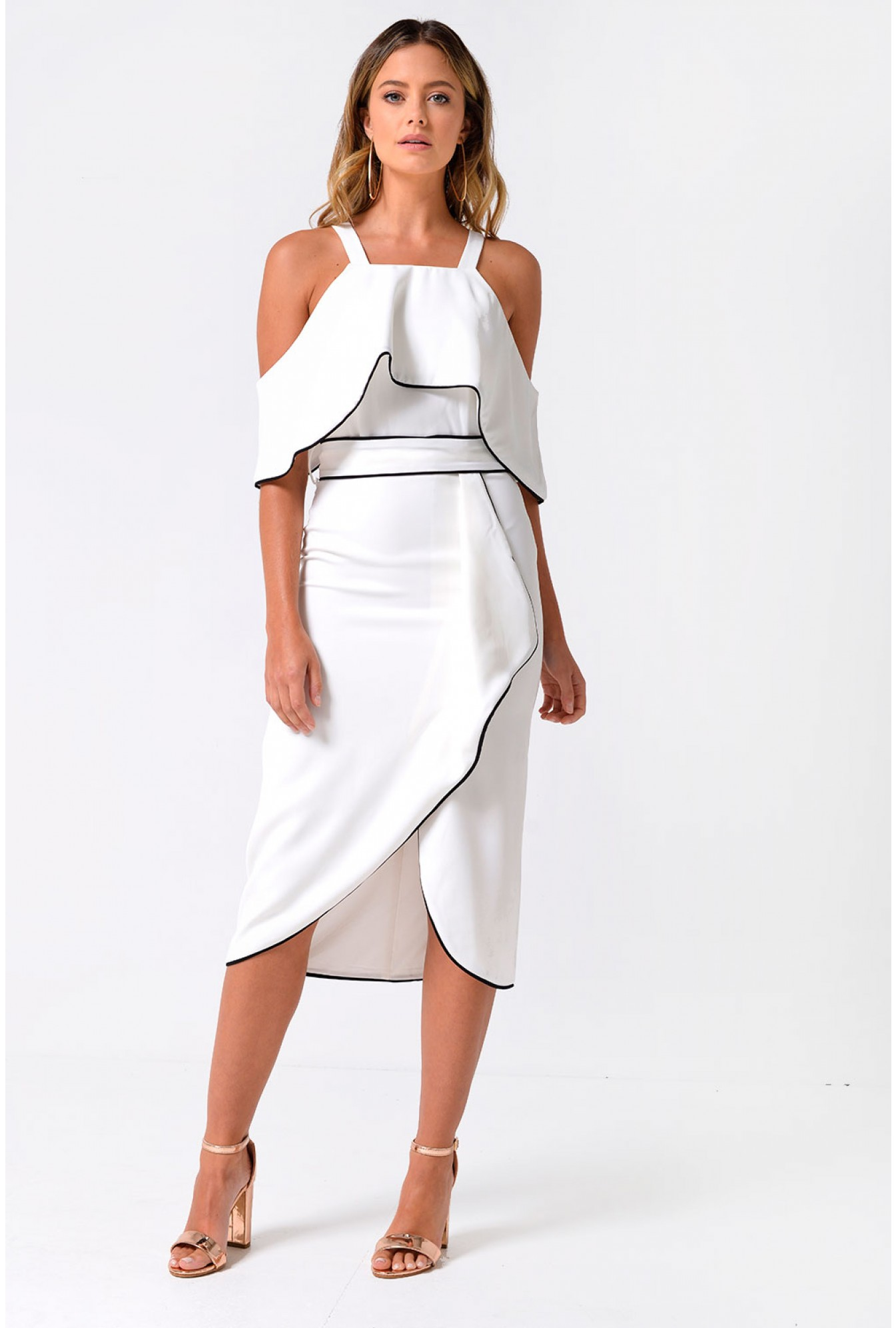 52686fabf1d More Views. Lola Off Shoulder Contrast Piping Dress in White. Video  Gallery. Lavish Alice