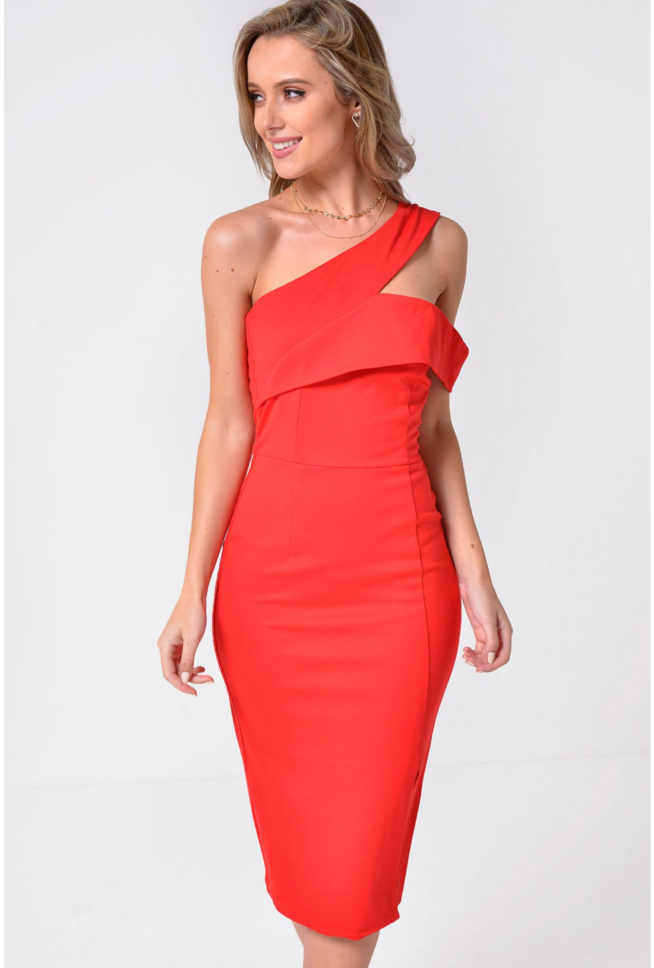0122f25bd058 Lavish Alice Lavish Alice One Shoulder Detail Midi Dress in Red ...