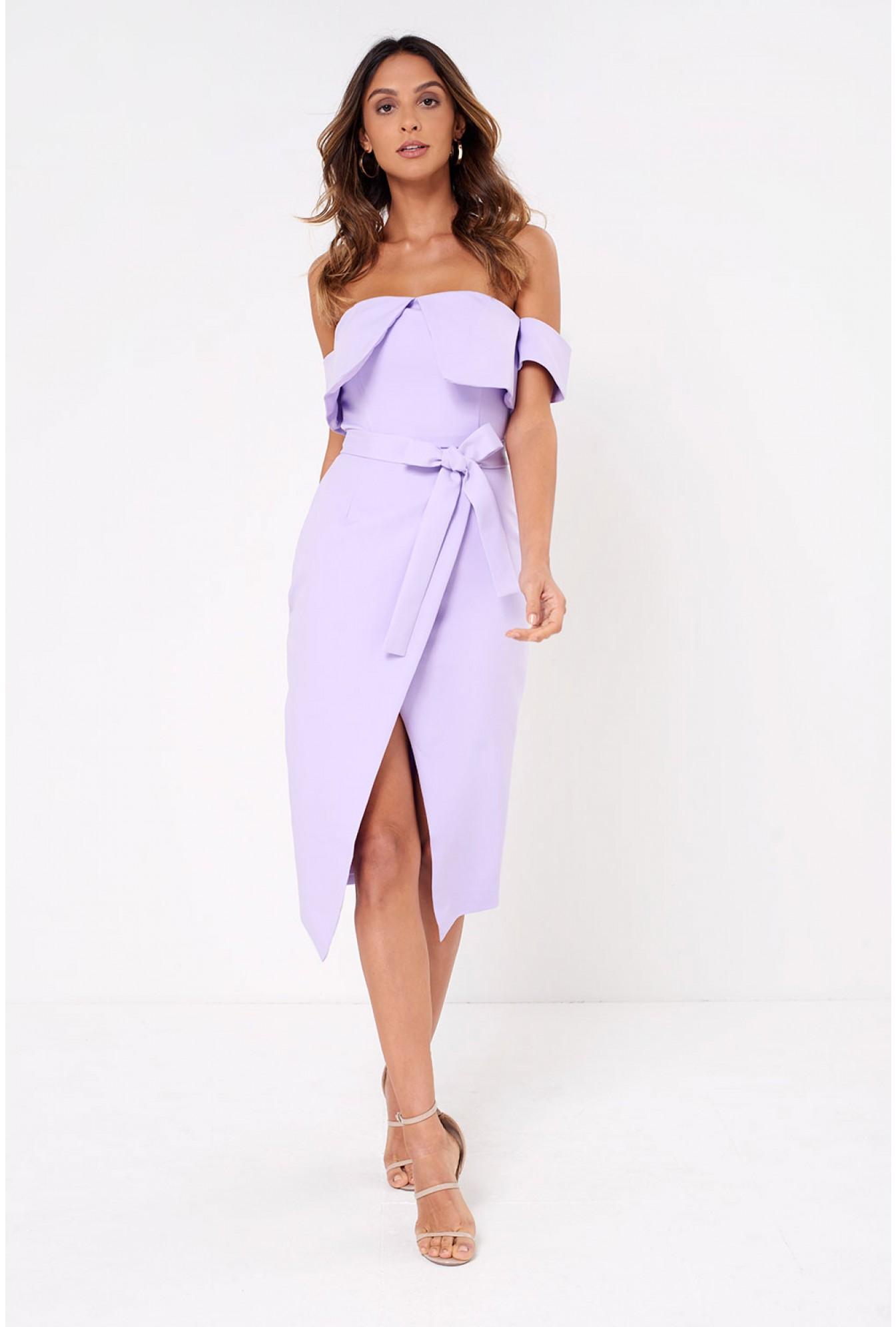 a237216d0d Soho Market Lavish Alice Bardot Wrap Midi Dress in Lilac