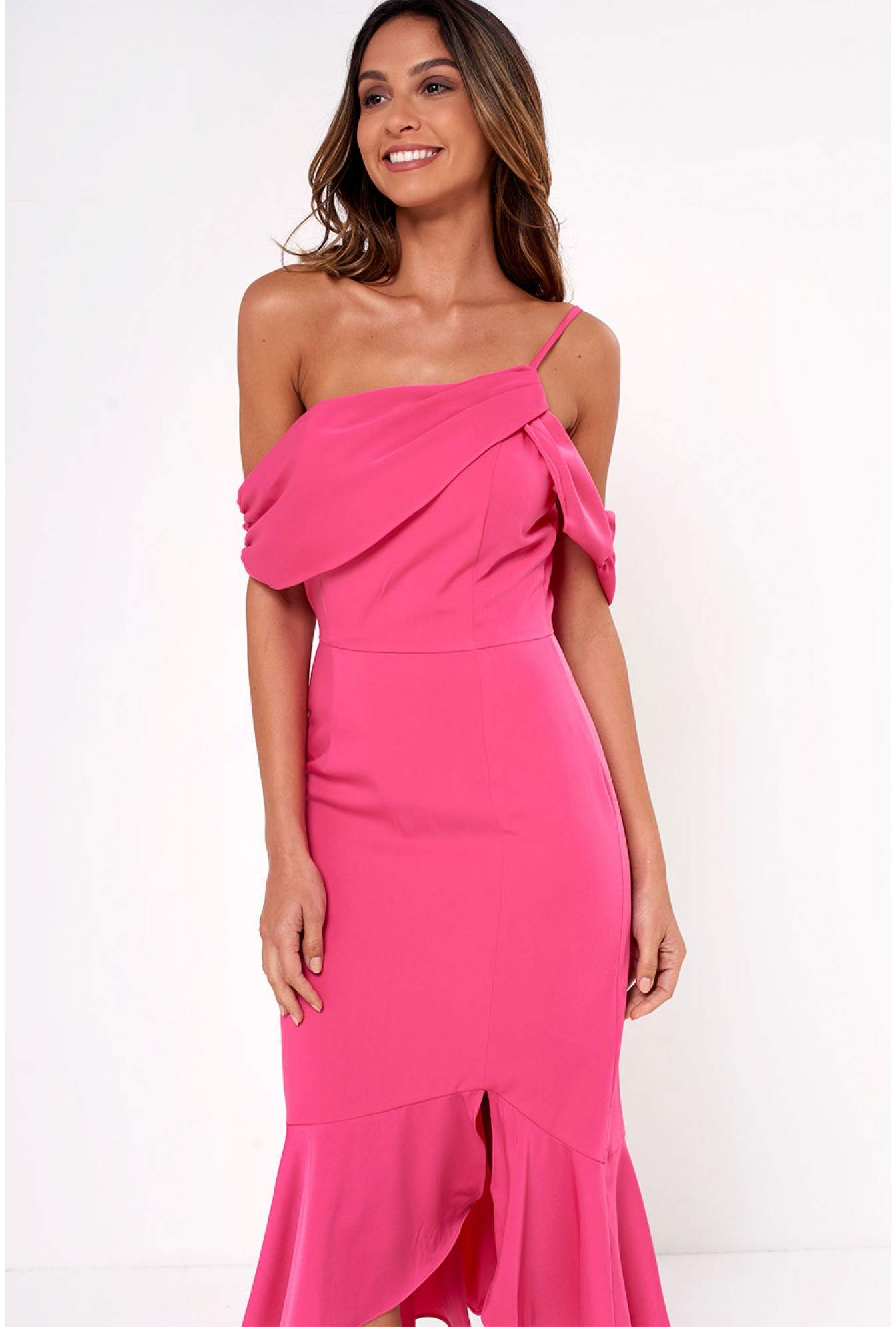 0189a2b102c0 Soho Market Lavish Alice One Shoulder Midi Dress in Bright Pink ...