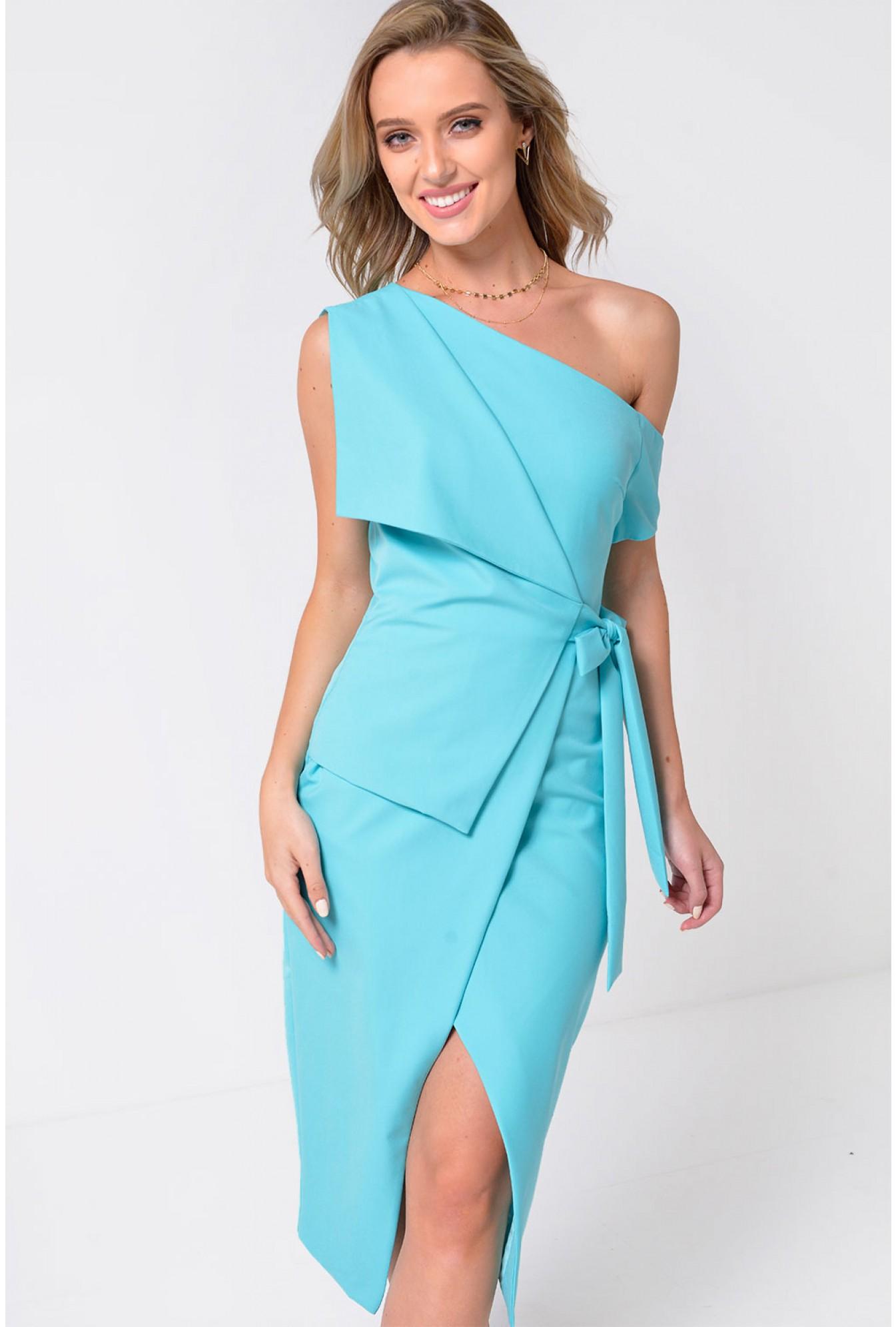 Lavish Alice Lavish Alice One Cold Shoulder Midi Wrap Dress in Mint ... 171c9ba6c