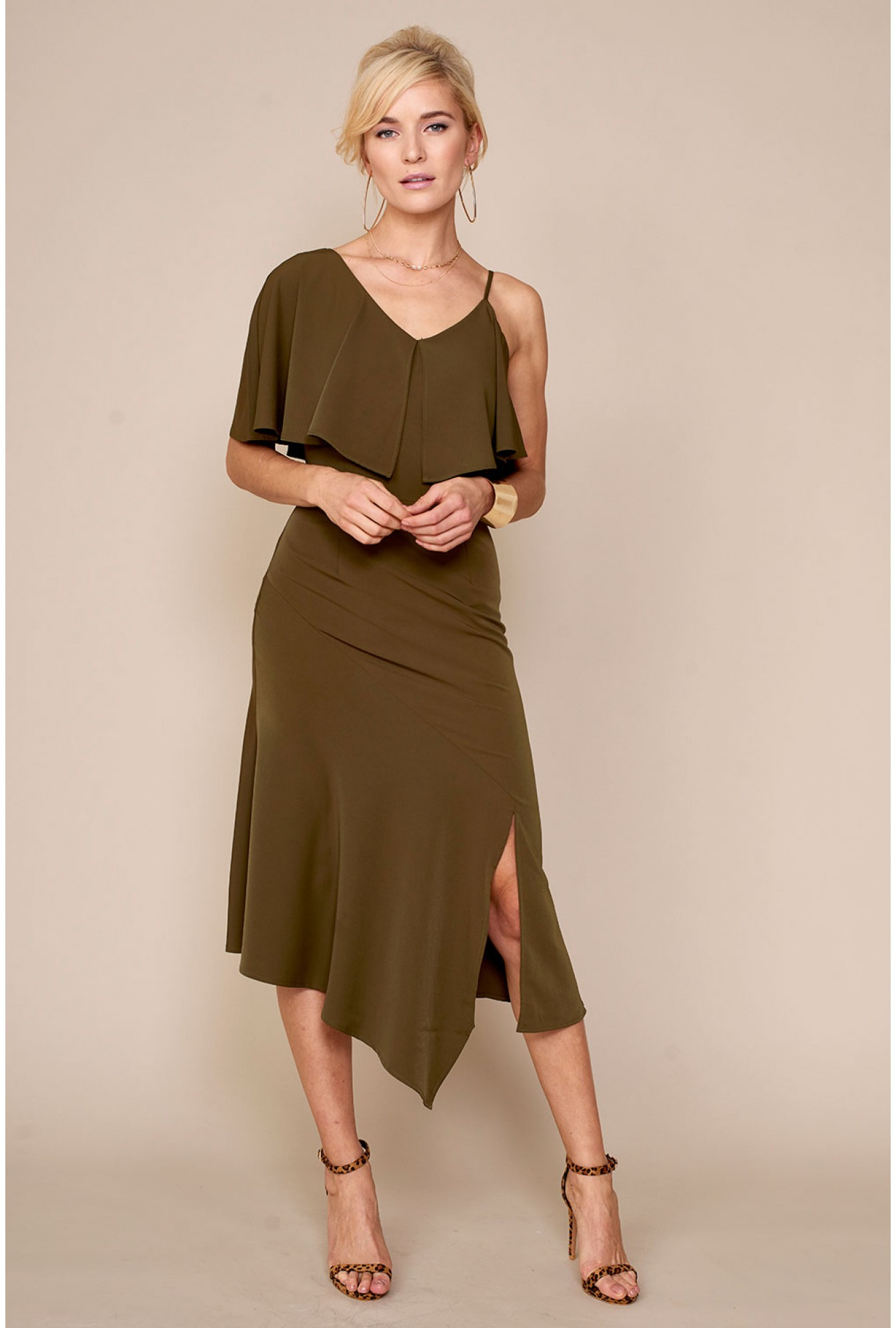 0b9a75d0f2b2 Lavish Alice Lavish Alice Off Shoulder Dress in Khaki