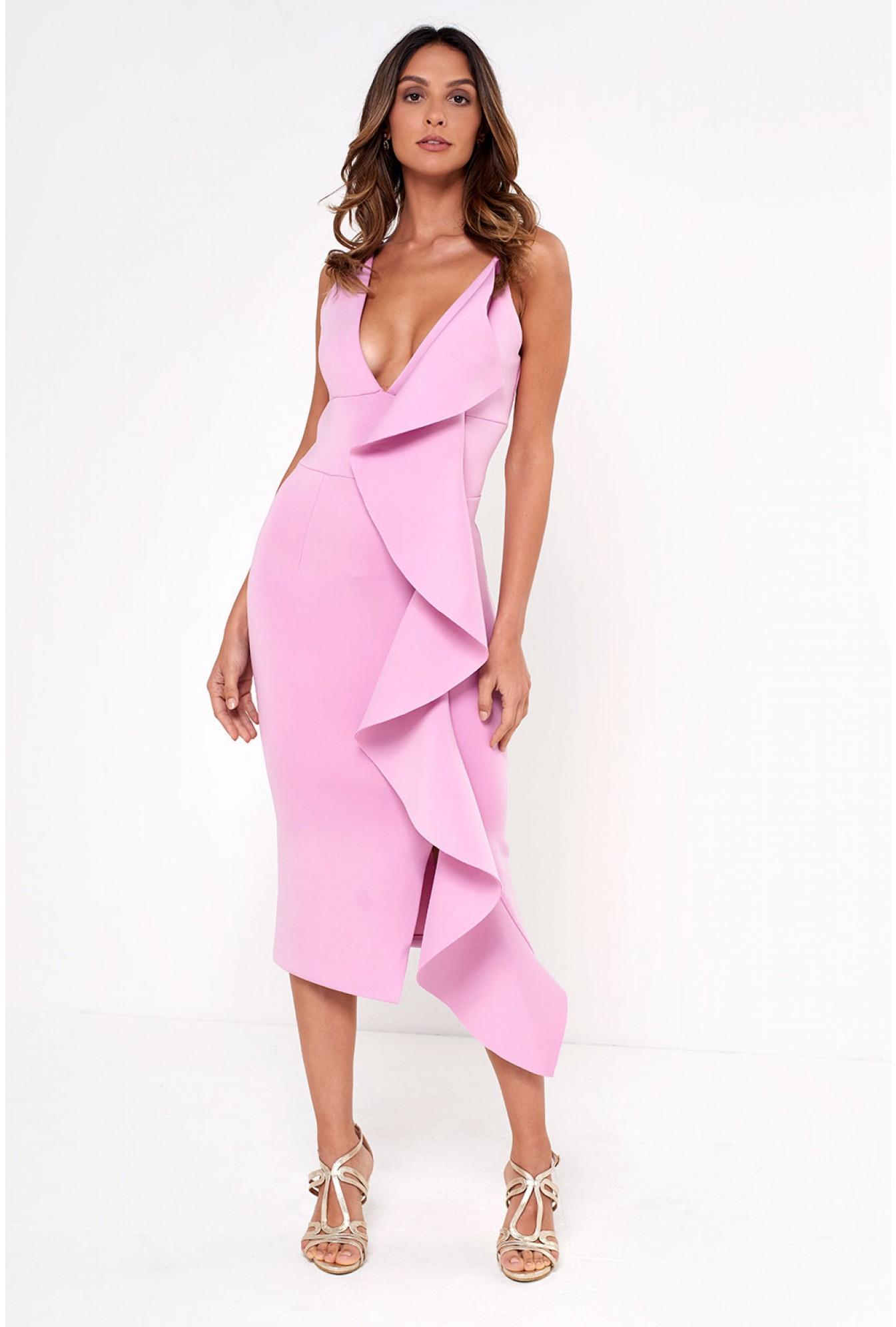 f46817bb0b1 Soho Market Lavish Alice Draped Frill Midi Dress in Lilac