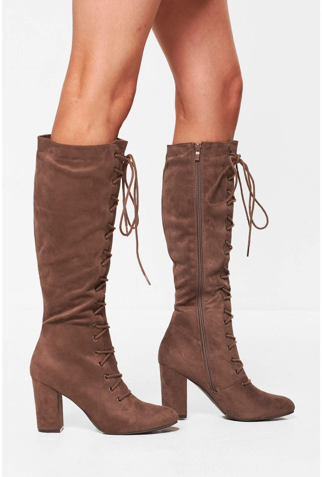 475c460b7c3 No Doubt Amanda Lace Up Knee High Boots in Taupe