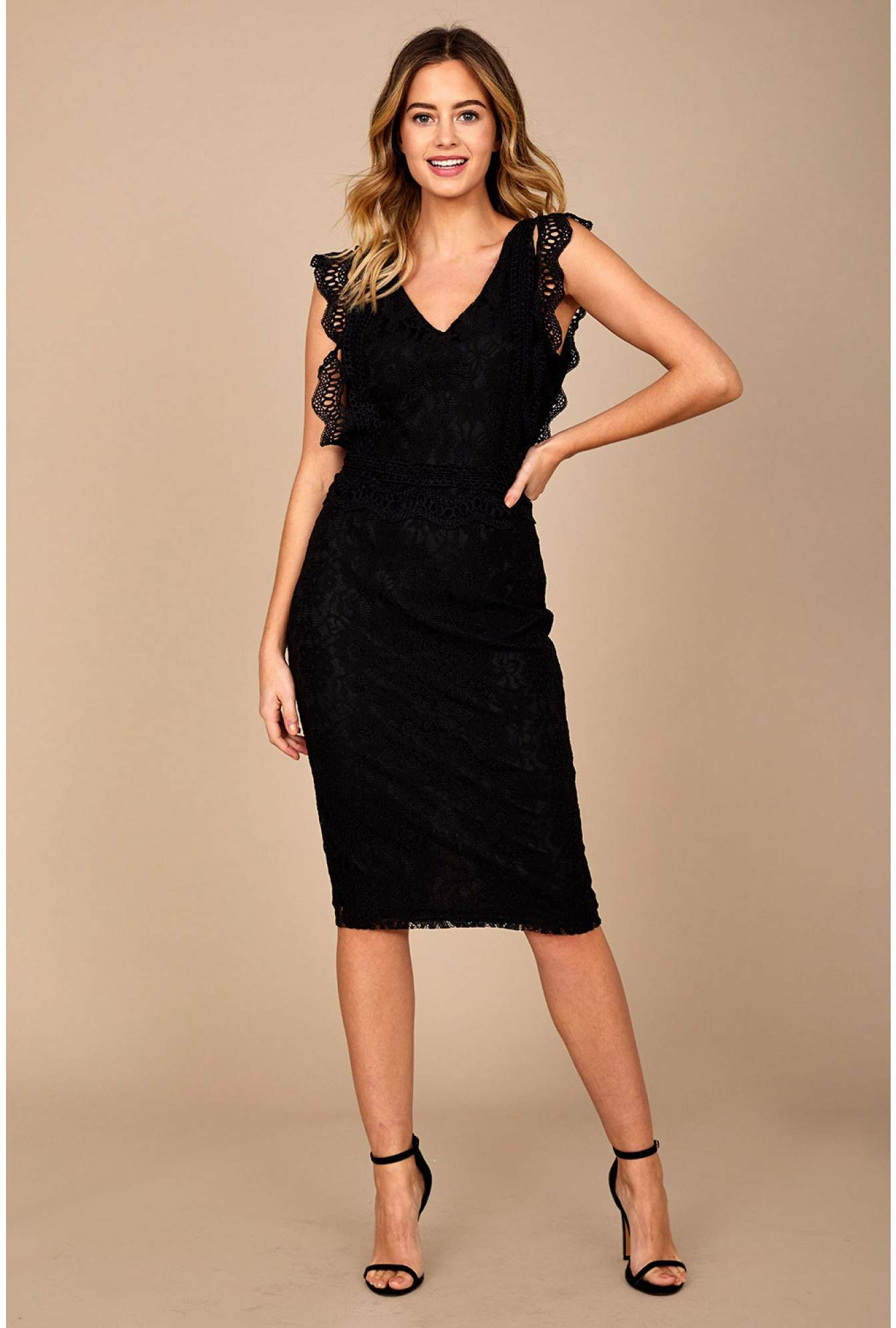 8388e54b622910 Marc Angelo Nikki Lace Occasion Dress in Black