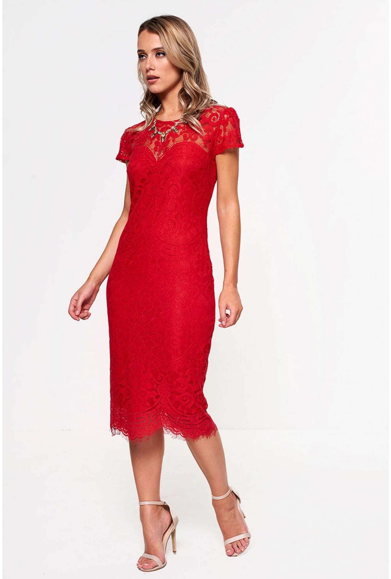 4cc8531c42d94 More Views. Gene Lace Occasion Dress in Red. city goddess