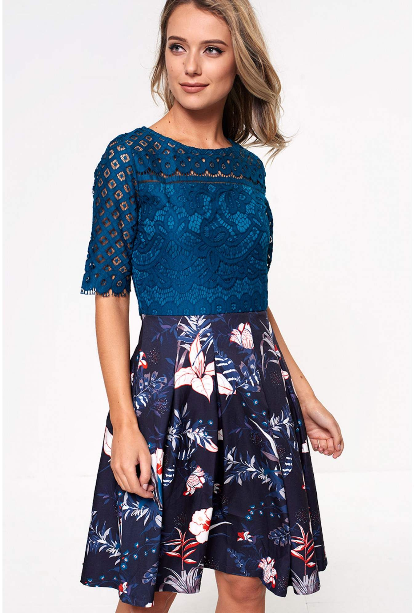d4ca8b51b9bb Marc Angelo Trish Lace Top Skater Dress in Teal
