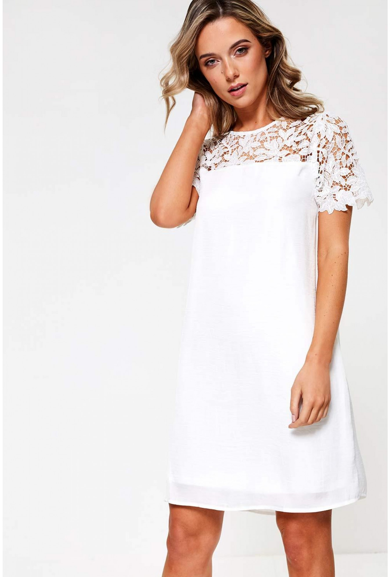 35a14bb971f0 Vila Melli Lace Top Tunic Dress in White | iCLOTHING