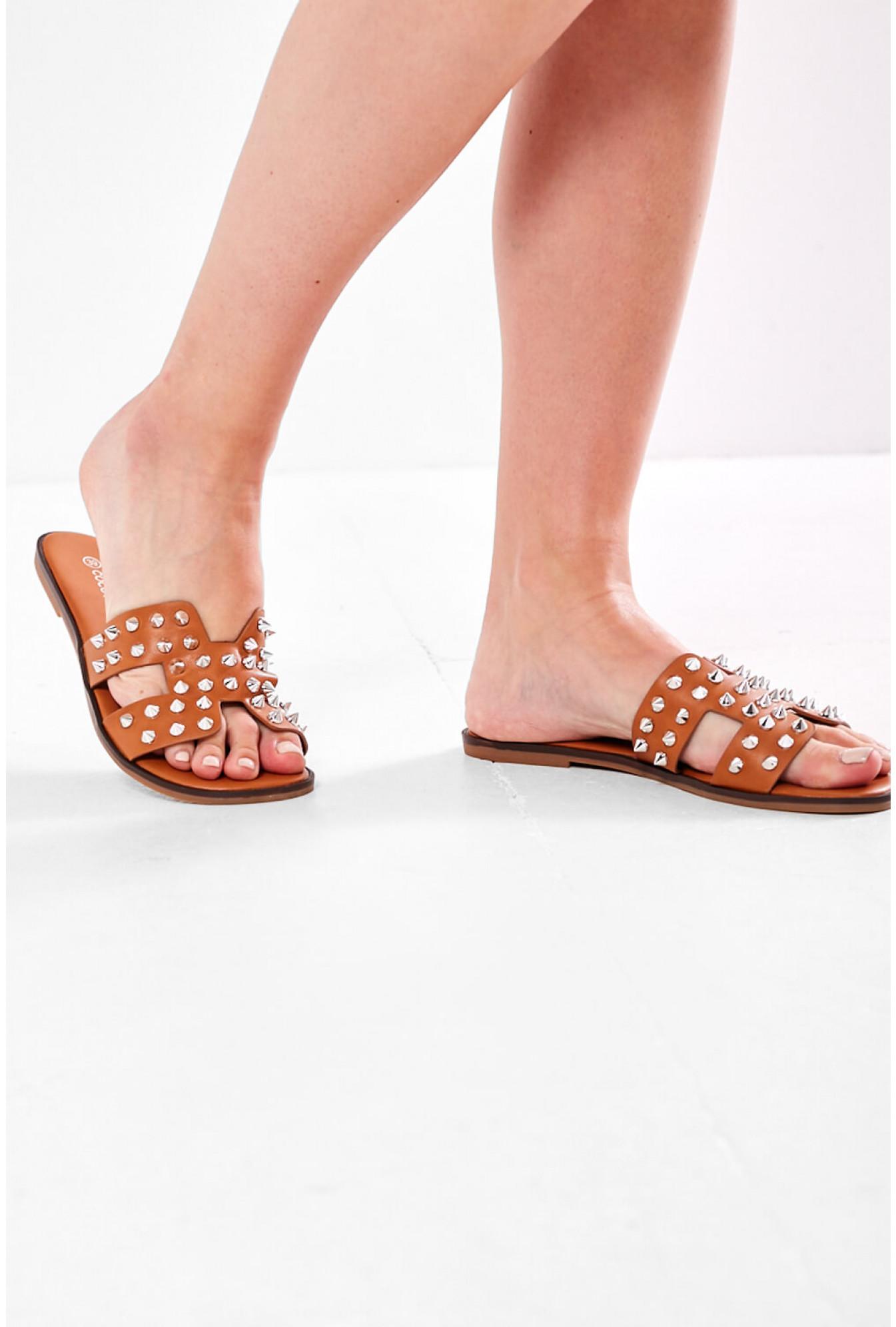 Lauren Studded Slider Sandals in Camel
