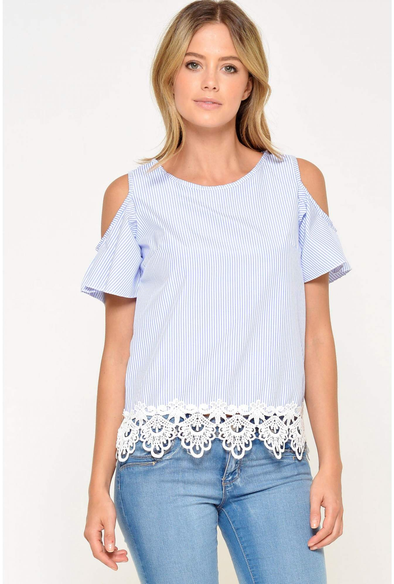 bbd31a03dc14f More Views. Jess Crochet Trim Cold Shoulder Top