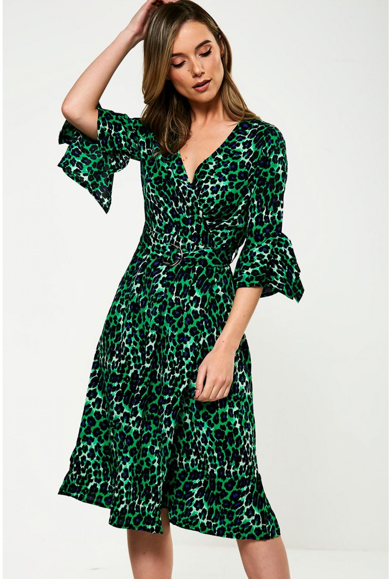 discount sale most popular shop Marc Angelo Leopard Print Midi Dress in Green | iCLOTHING
