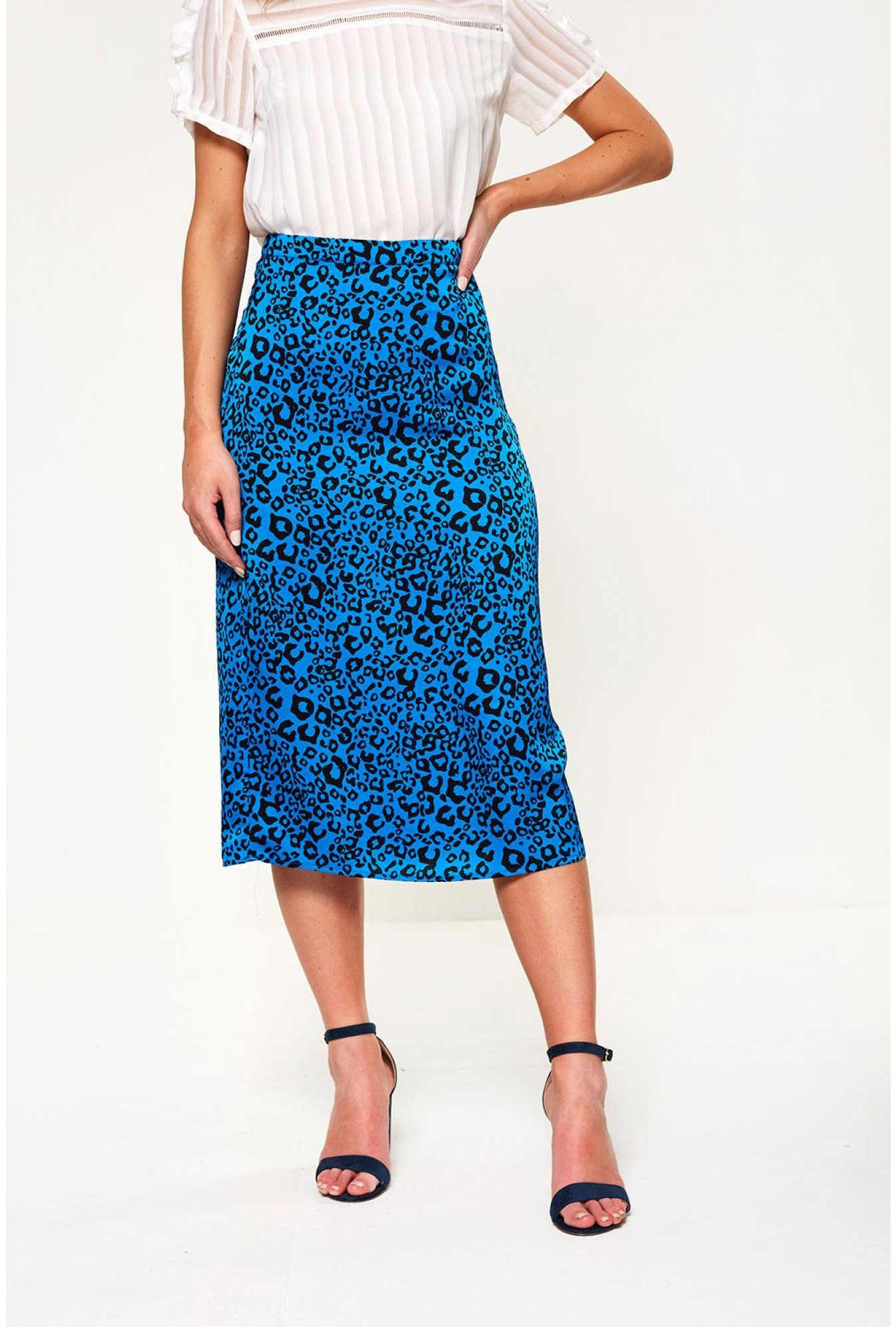 c625478d039b Vila Satin Leopard Print Skirt in Blue | iCLOTHING