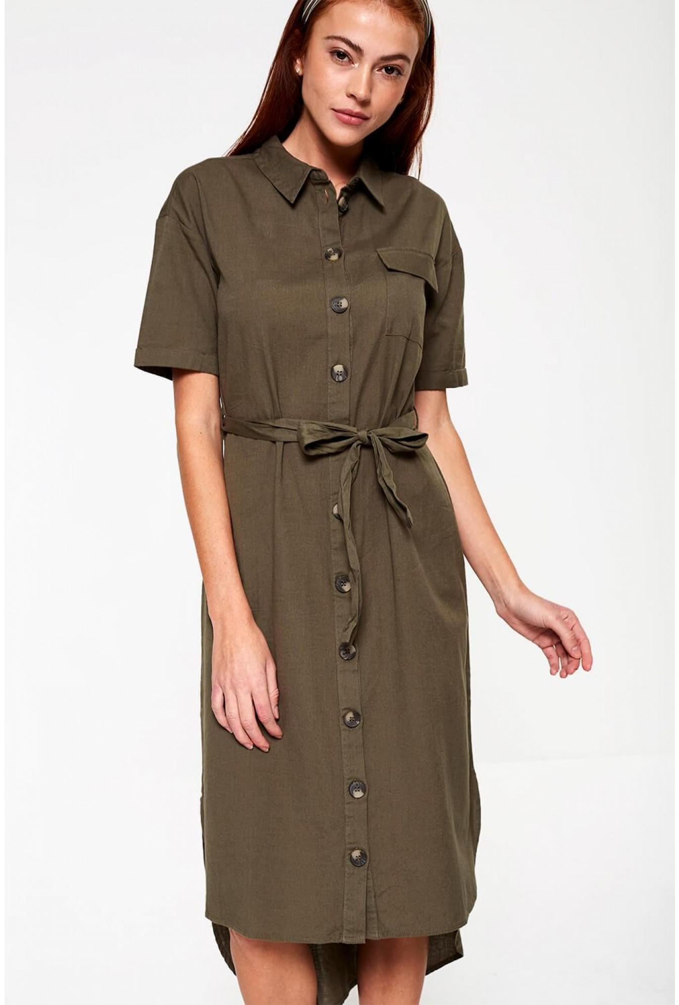 olive shirt dress