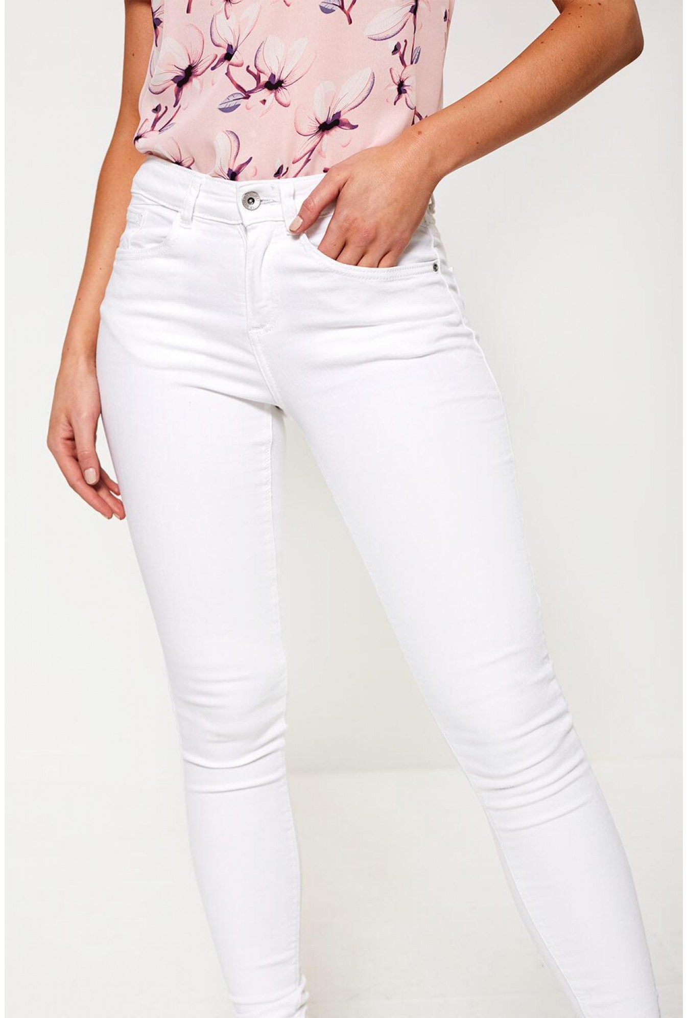 5fed25a1d B.Young Lola High Rise Skinny Jeans in White   iCLOTHING