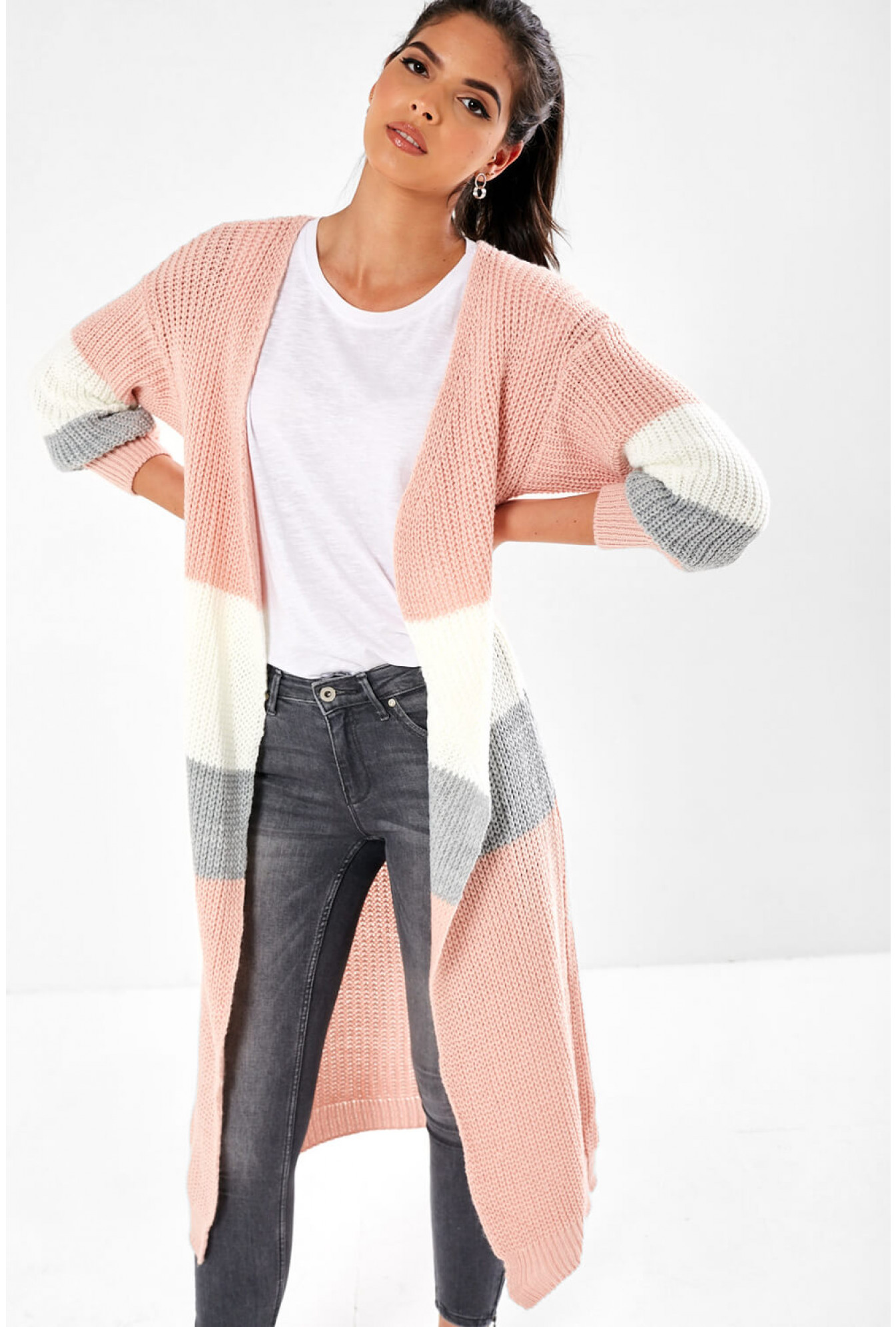 Long Line Cardigan in Pink