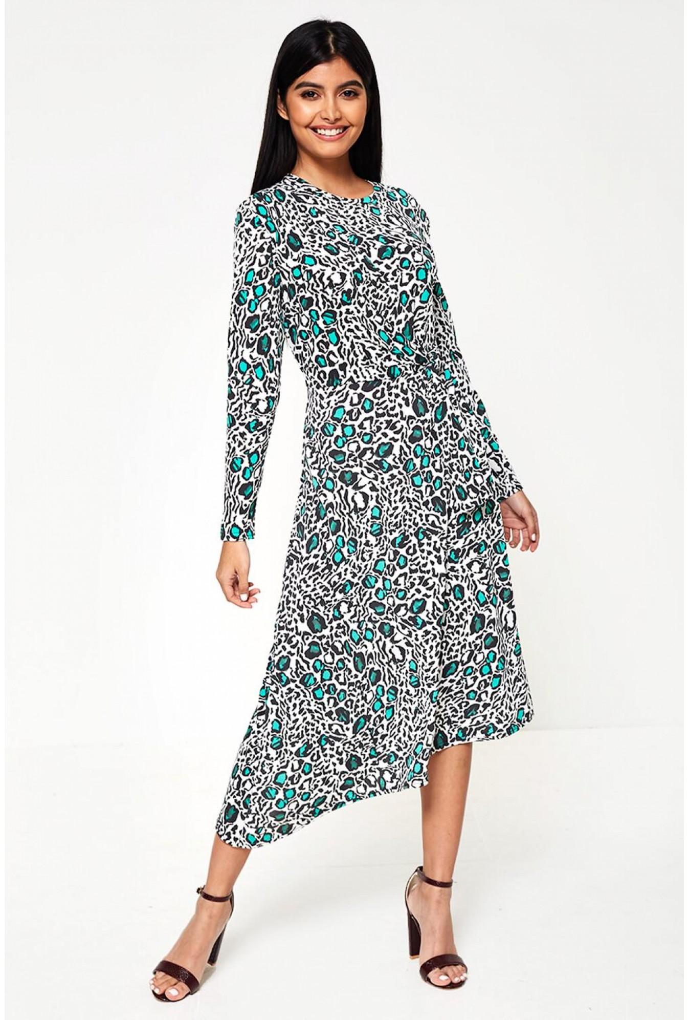 eddbe093495f John Zack Maria Long Sleeve Animal Print Dress With Tie Side Detail ...