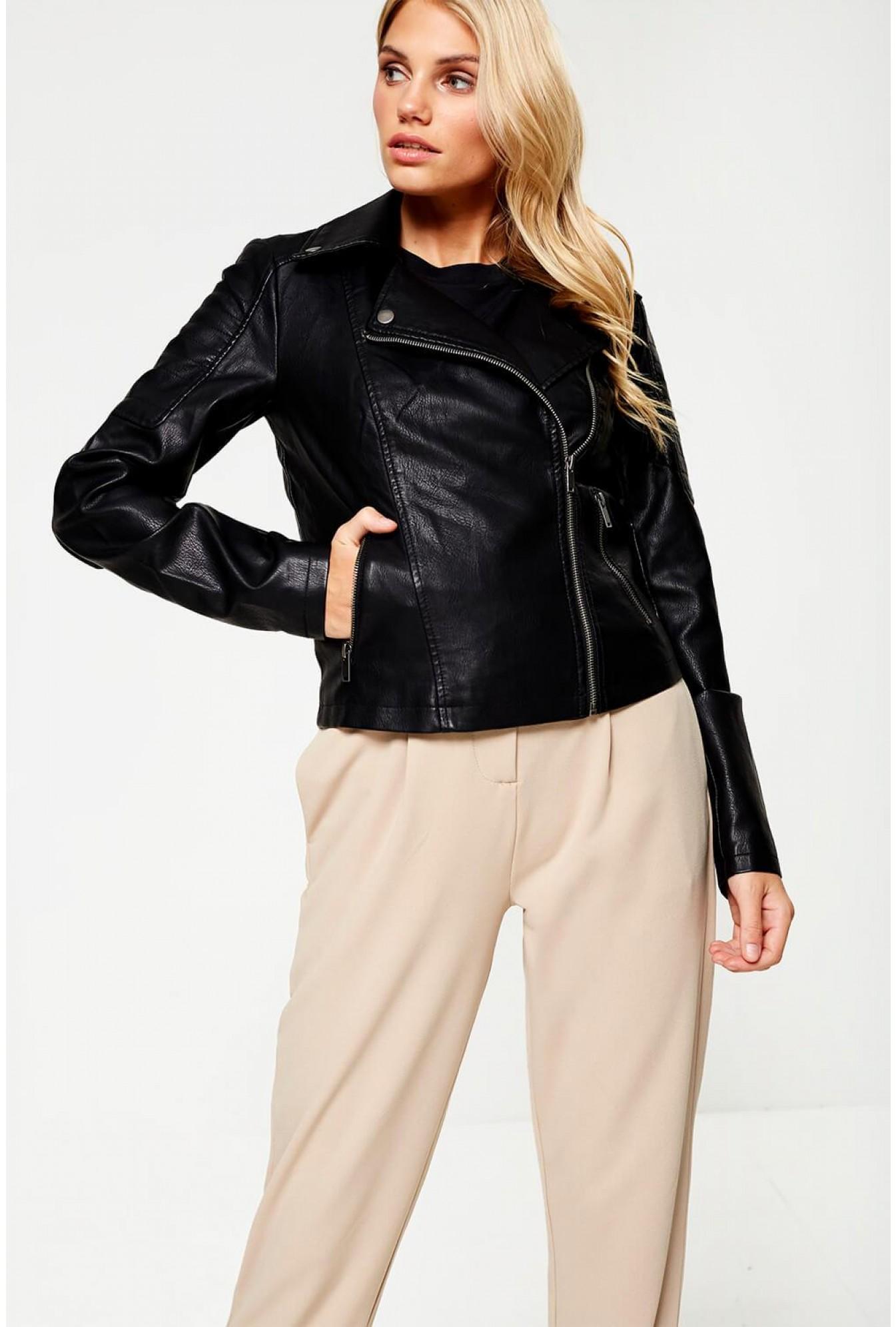 b868047a0e959 Noisy May Rebel Long Sleeve Faux Leather Jacket in Black