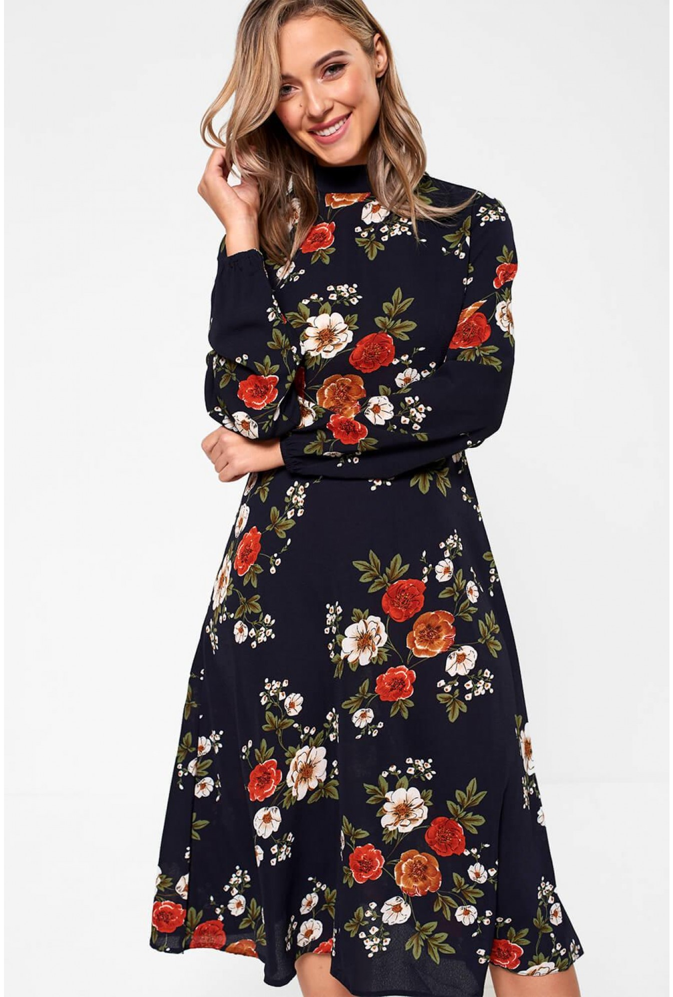 427dfe00b19d More Views. Lydia Long Sleeve Floral Midi Dress in Navy