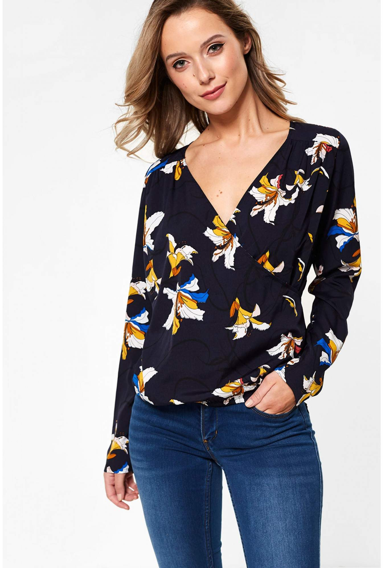 9c2959647f Pieces Agnes Long Sleeve Floral Print Wrap Top in Navy