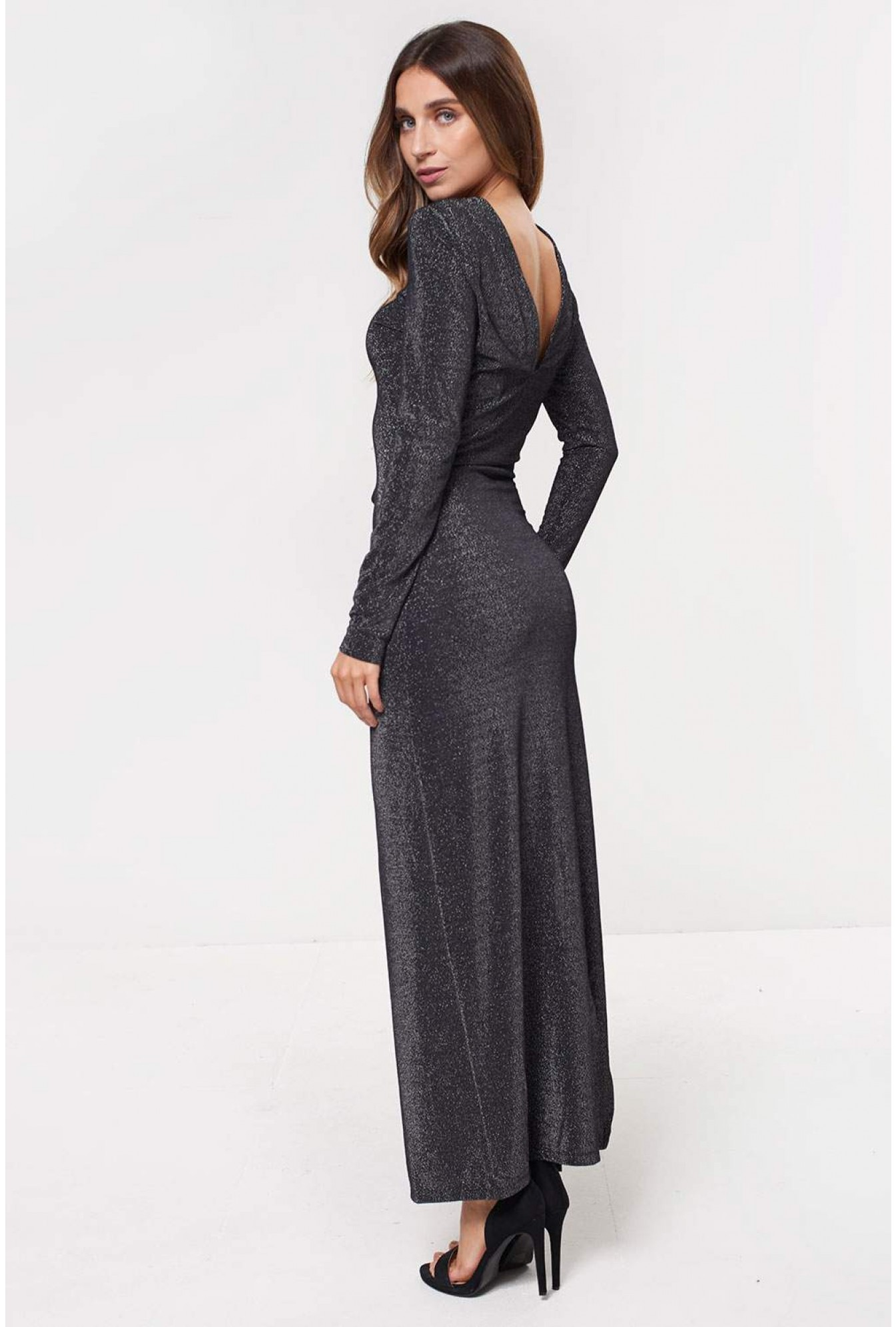 9a56b04bb1cf More Views. Ibbo Long Sleeve Maxi Dress in Silver Glitter