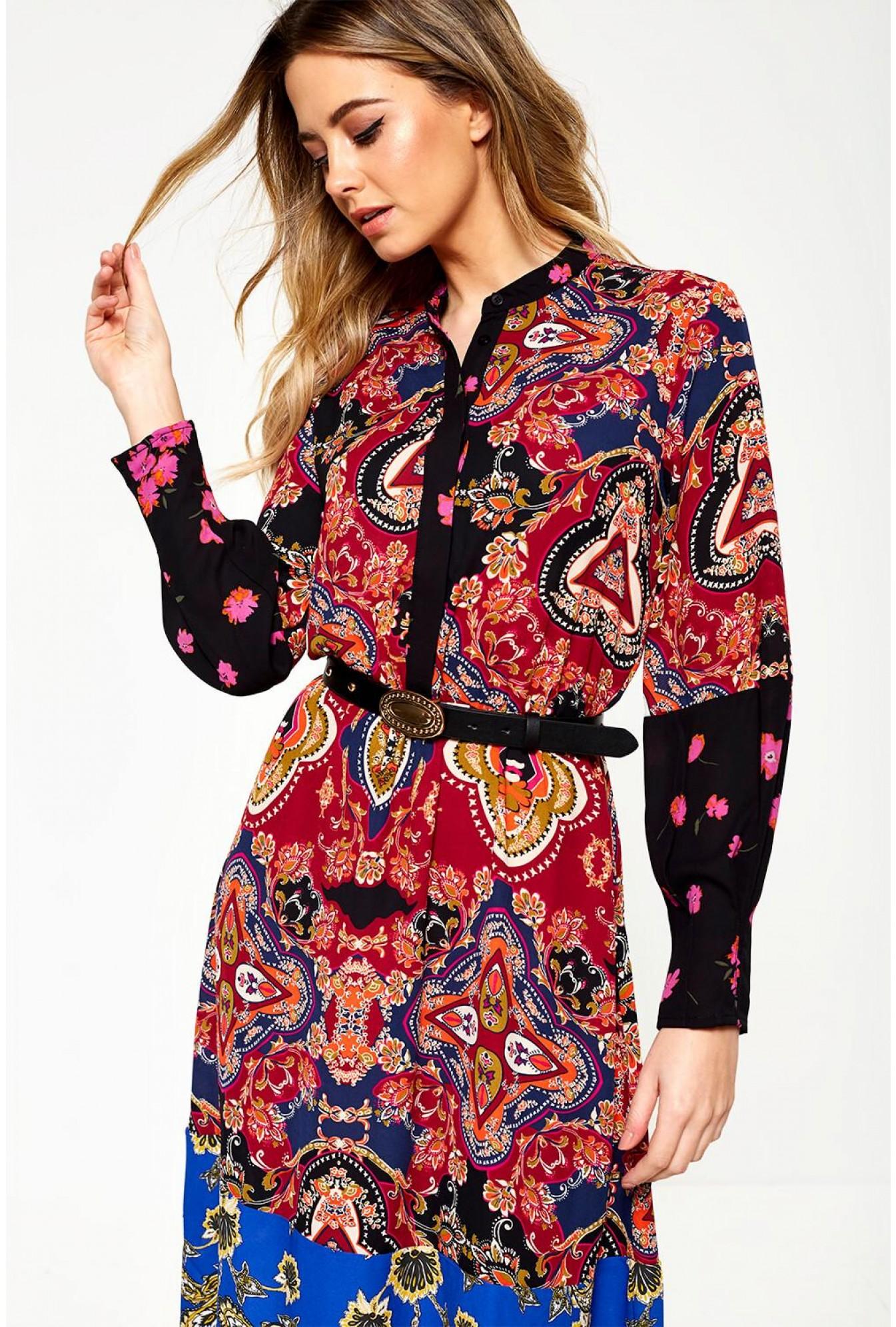 6d67484d2bd Only Italia Long Sleeve Midi Dress in Paisley Print