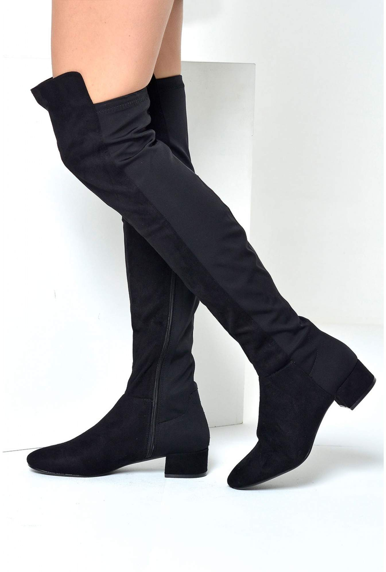 b16c4ffc7ac More Views. Flic 50 50 Over Knee Boots in Black Suede