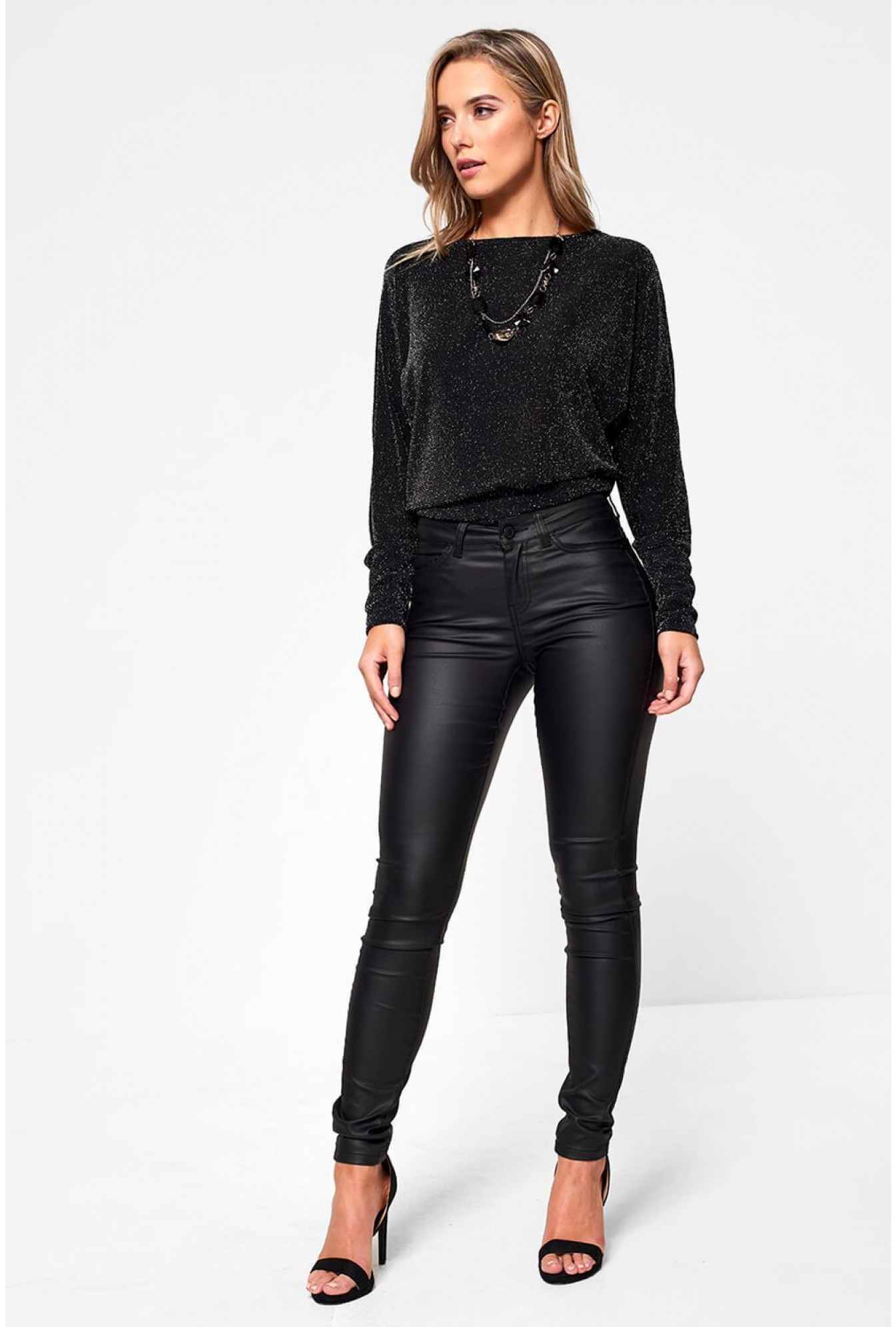 0d76809a0628 Noisy May Lucy Coated Trousers in Black