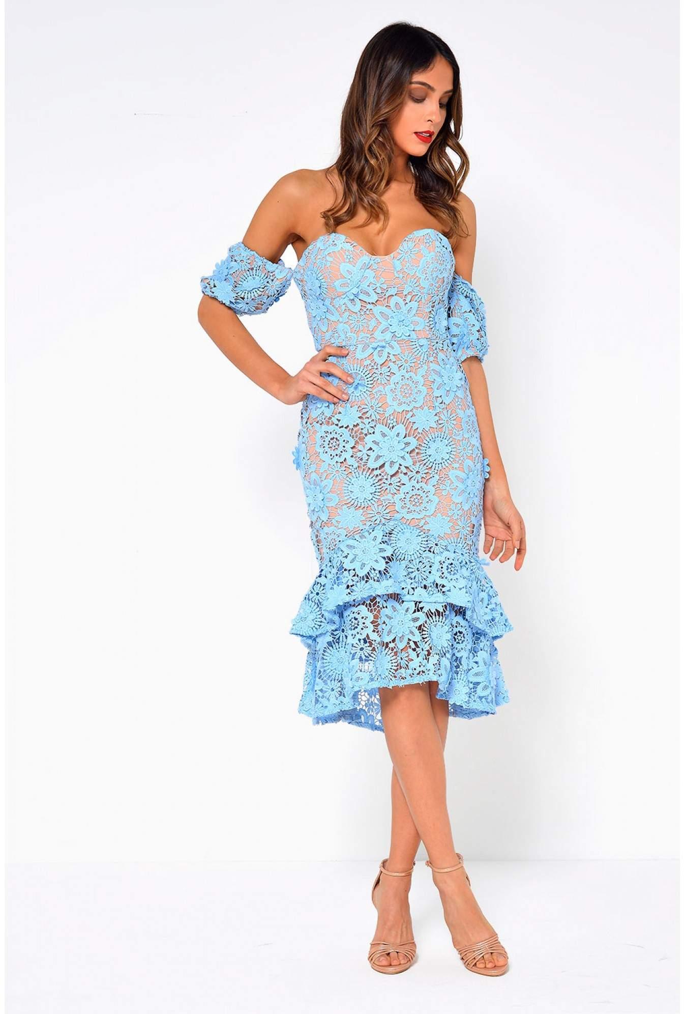 72bd57703c Soho Market Merrilee Off Shoulder Crochet Midi Dress in Blue | iCLOTHING