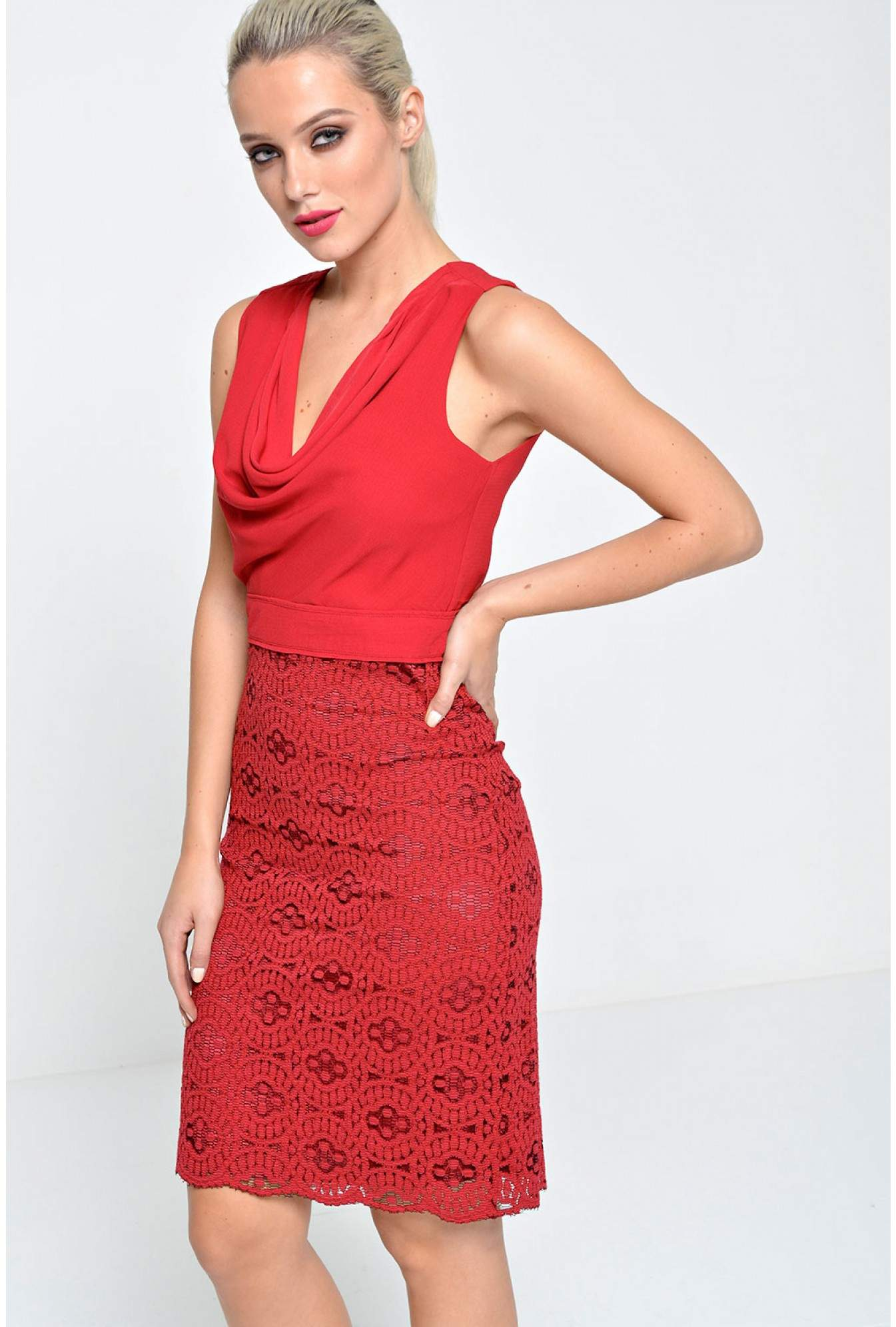 55db5d9502 Marc Angelo Catya Lace and Cowl Neck Dress in Deep Red