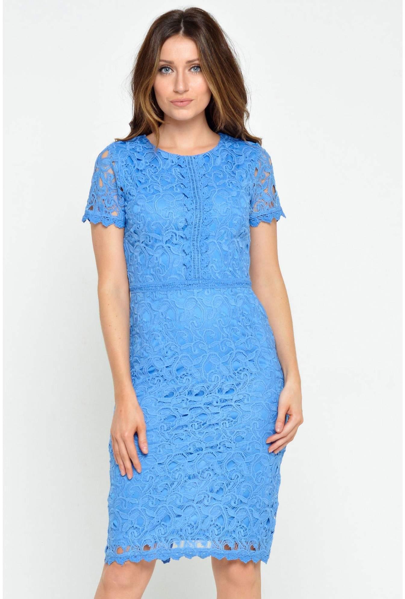 a02b3ba3f7 Marc Angelo Nancy Crochet Lace Midi Dress in Cornflower Blue