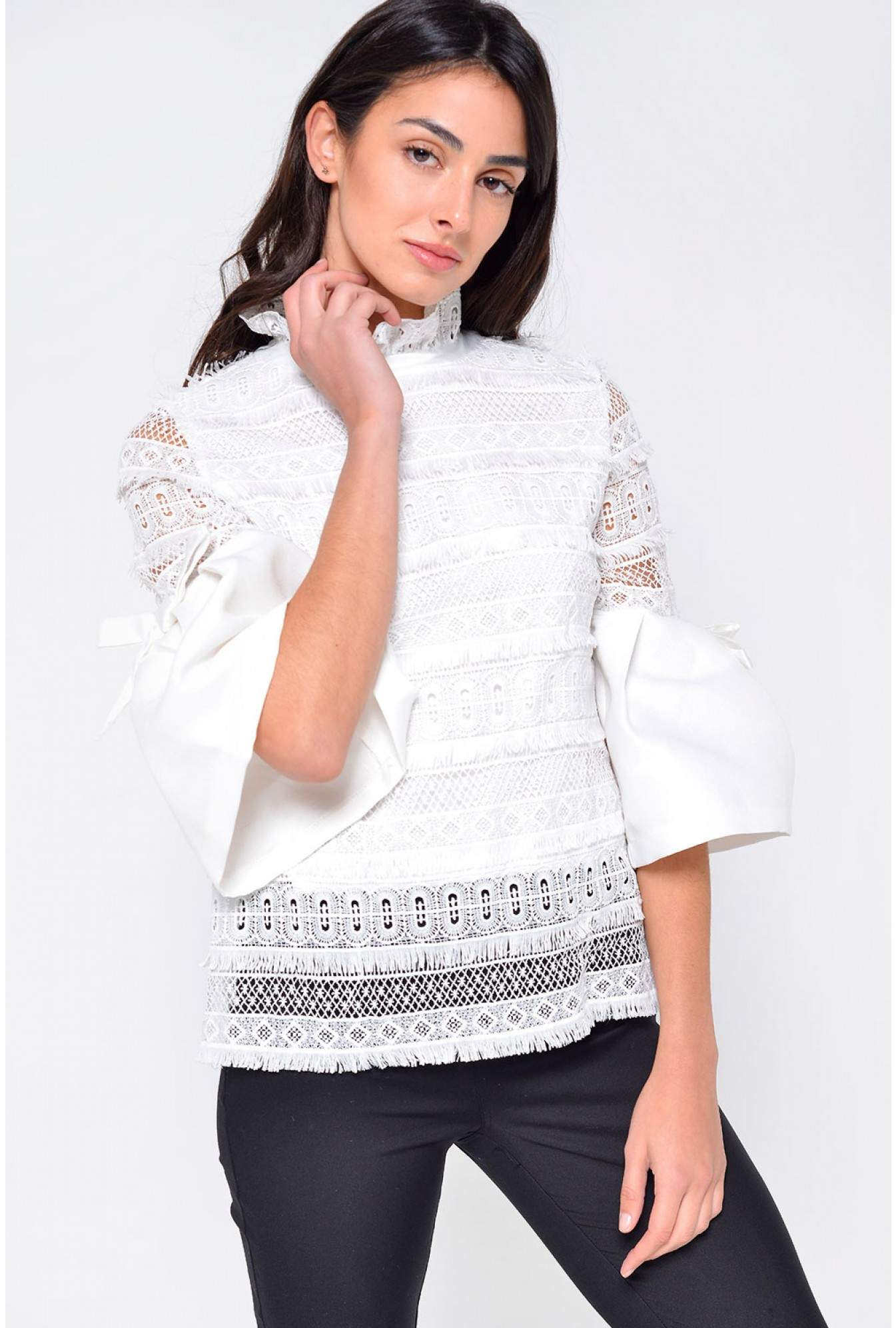 69d8036f8e05c Marc Angelo Rella Flare Sleeve Crochet Top in Off White