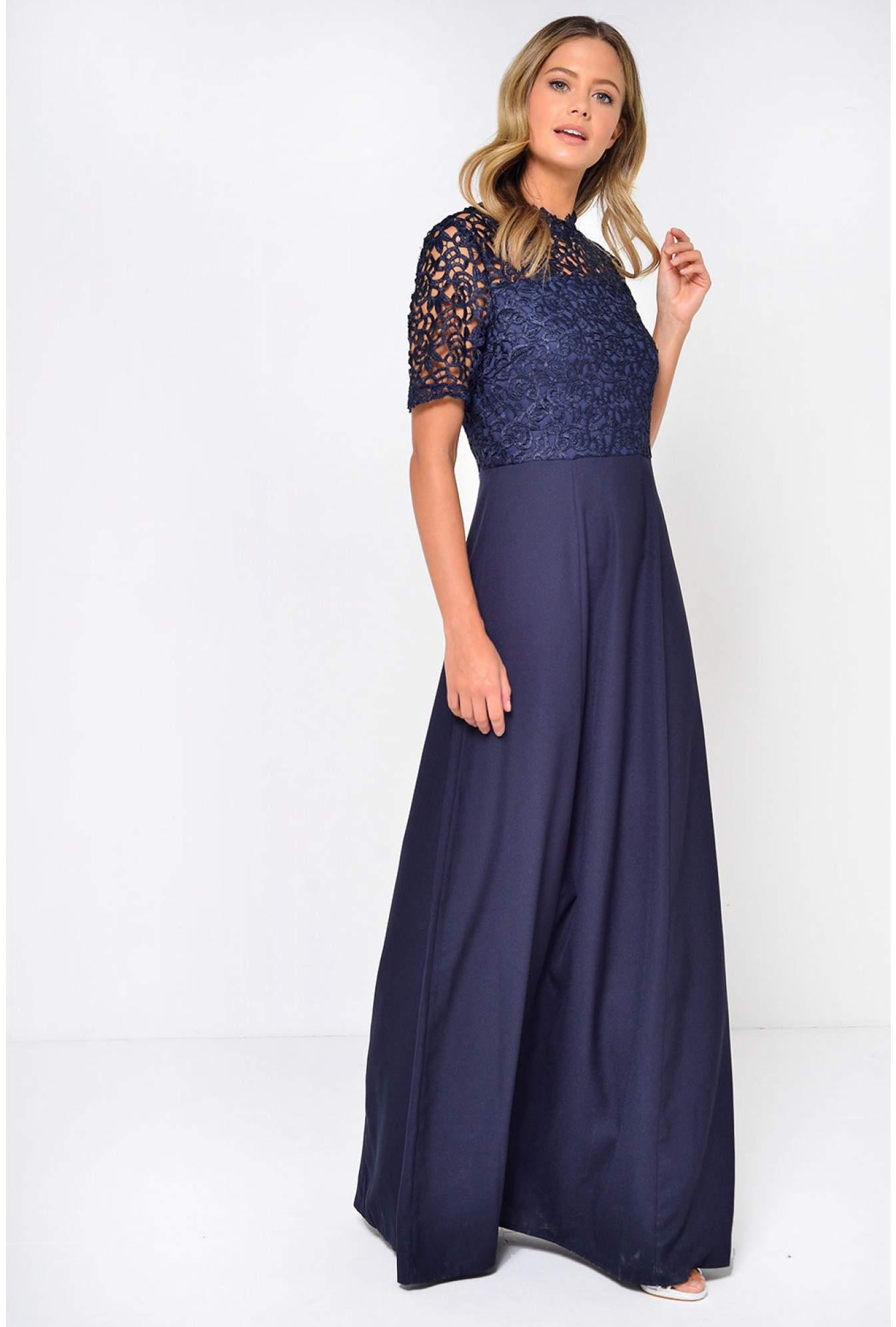 8c857f2f23f Navy Crochet Top Maxi Dress
