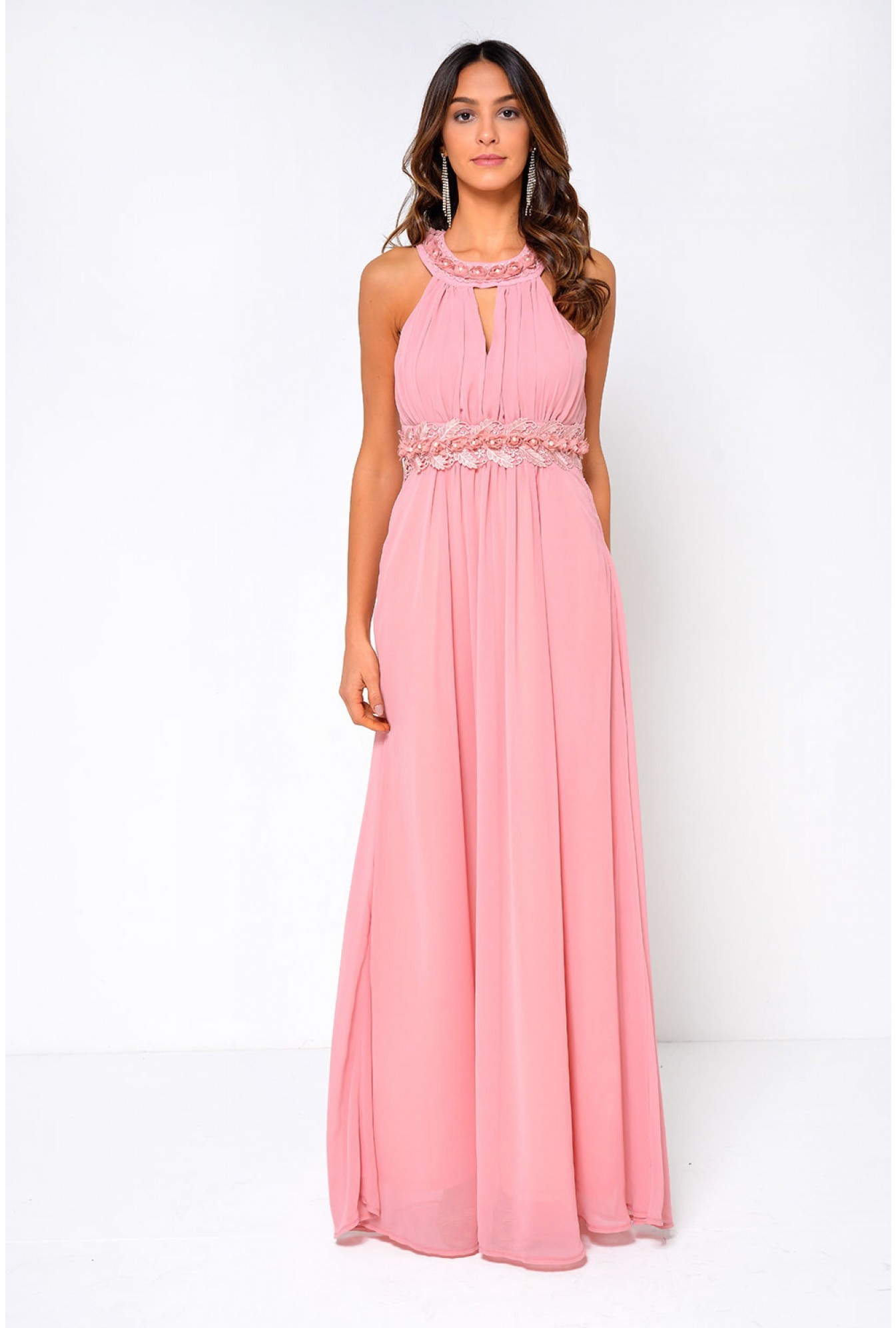 e466fdd169c8 Marc Angelo Nadia Halter Neck Maxi Dress in Pink | iCLOTHING