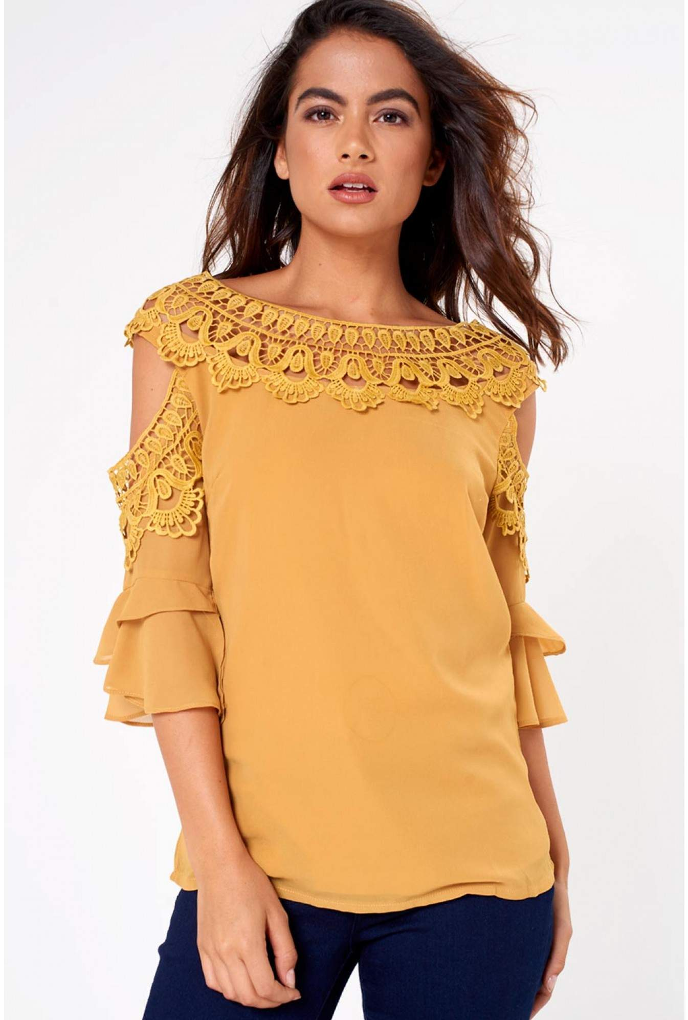 4cb8a3cced782a Marc Angelo Nadia Crochet Cold Shoulder Top in Mustard