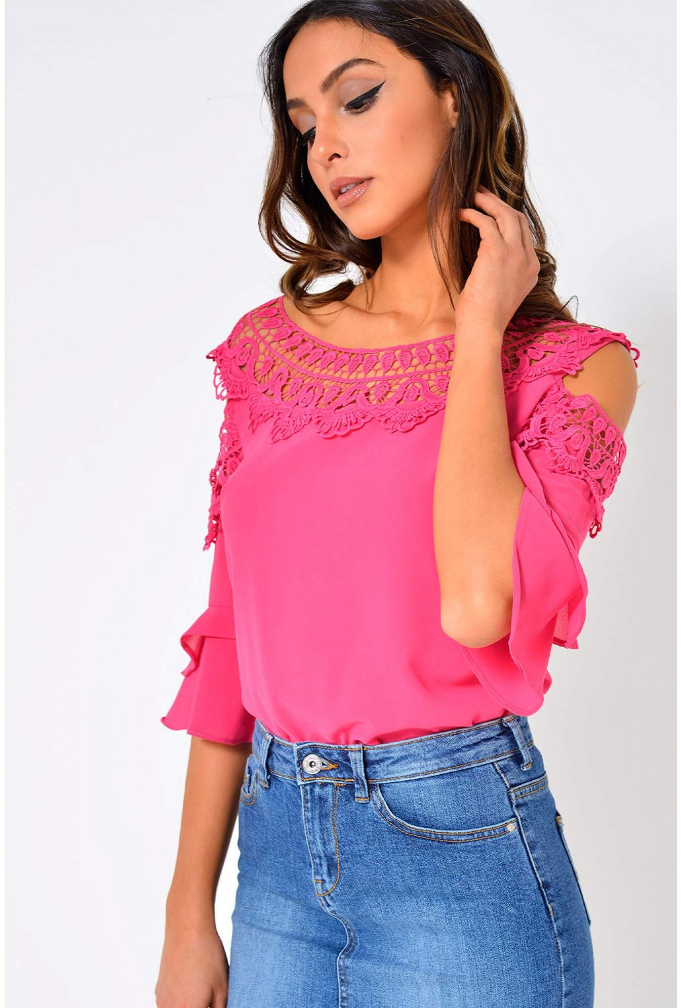 7842f60078cc5 More Views. Nadia Crochet Cold Shoulder Top in Pink. Marc Angelo