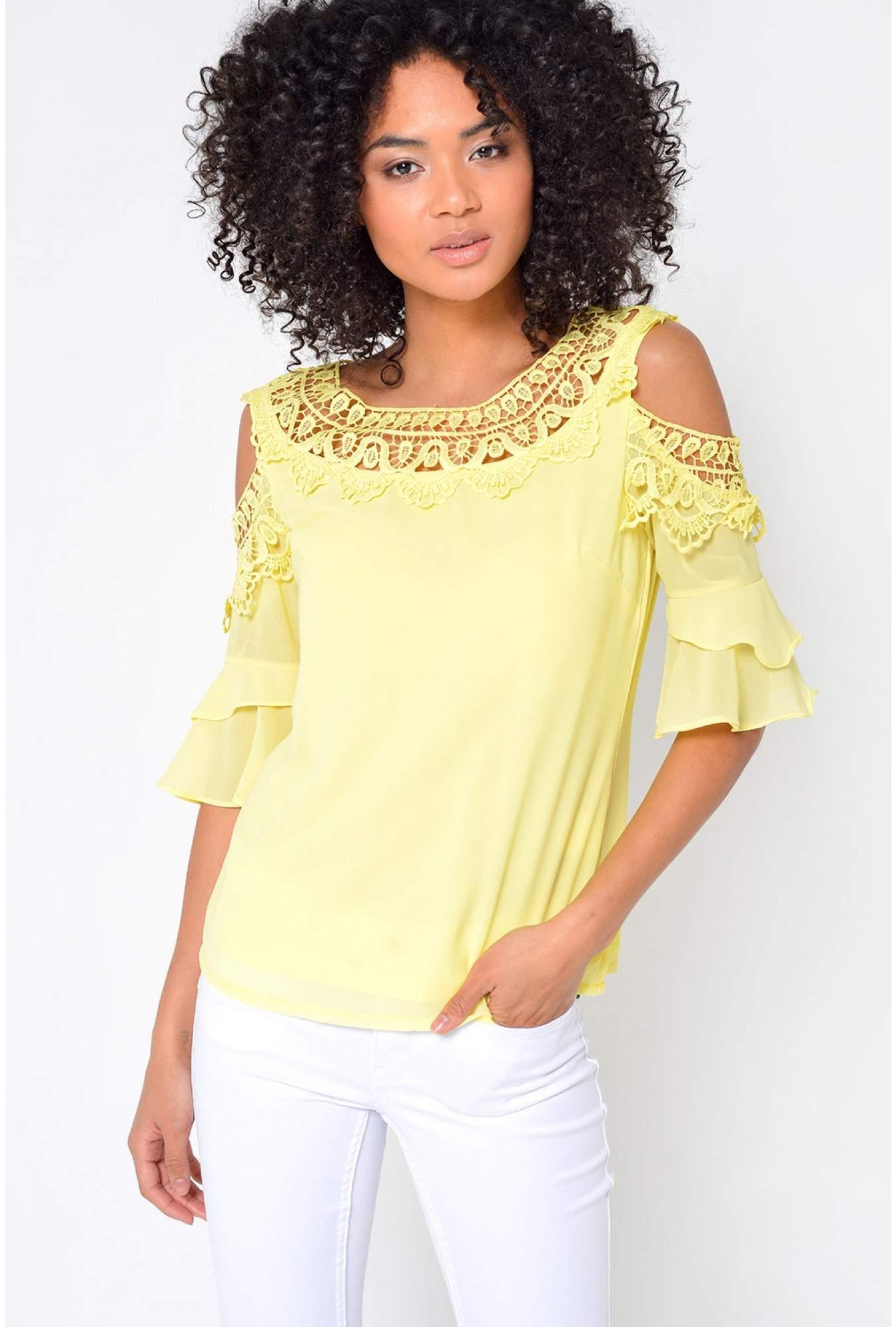 54b15482cada20 Marc Angelo Nadia Crochet Cold Shoulder Top in Yellow