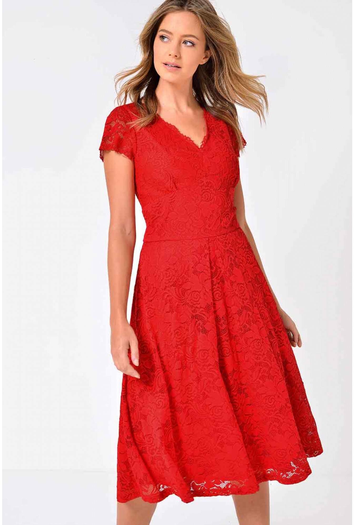 014f7878b51e Marc Angelo Samia Lace Midi Skater Dress in Red