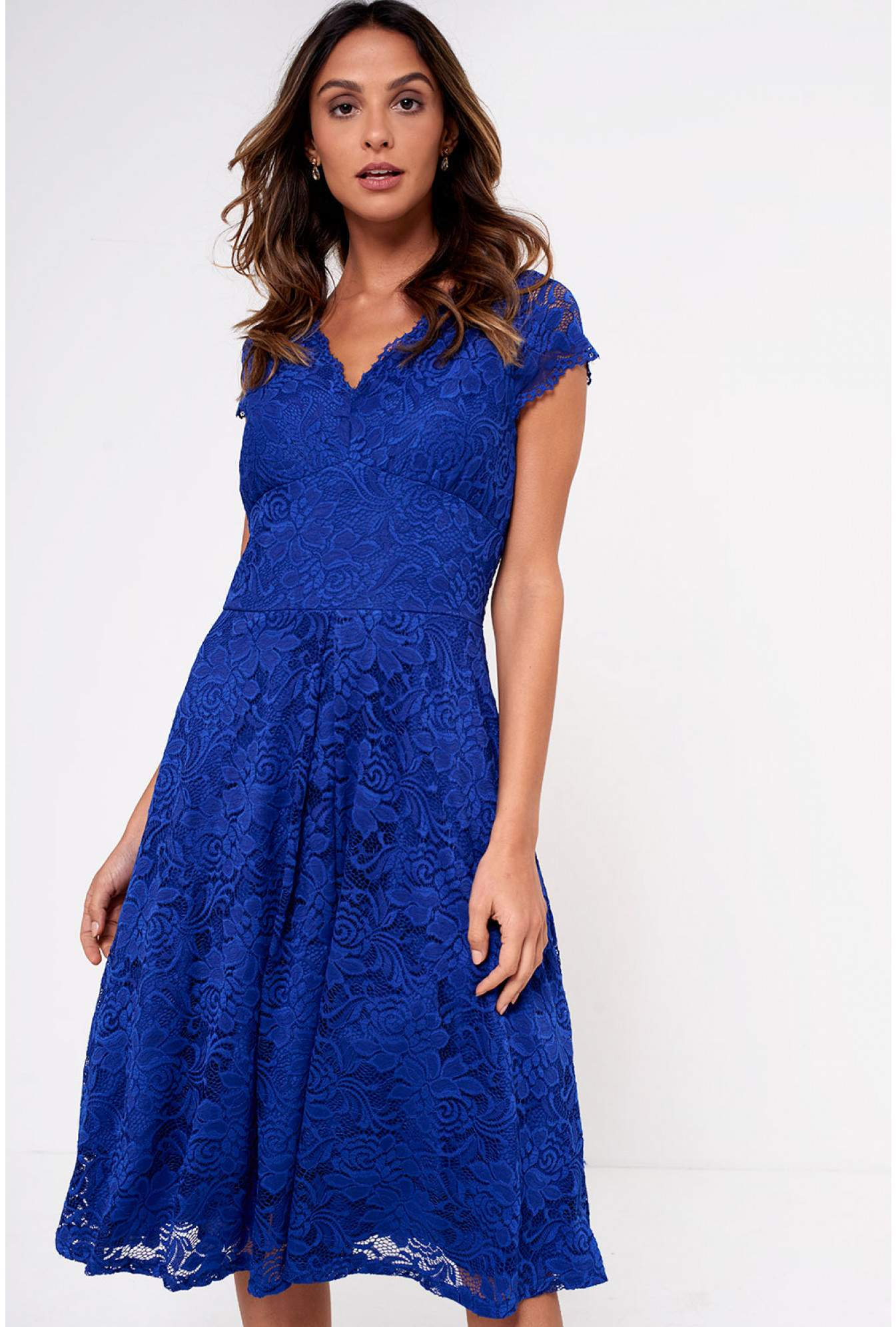 948f3fa59bf2 Marc Angelo Samia Lace Midi Skater Dress in Royal Blue