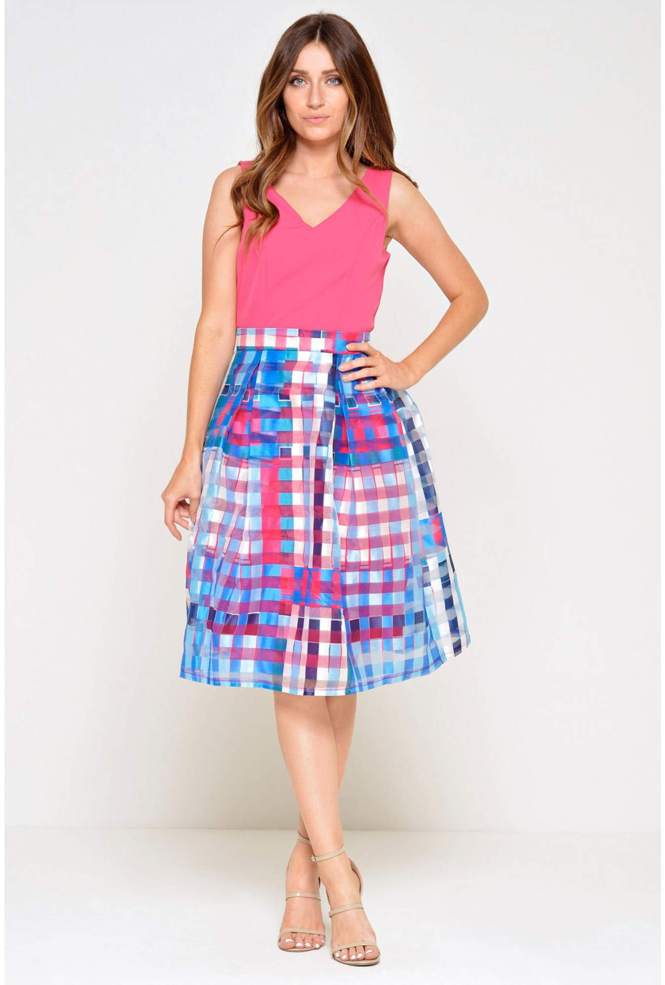 0548c10093 More Views. Sinitta 2 in 1 Skater Dress in Pink and Blue. Marc Angelo