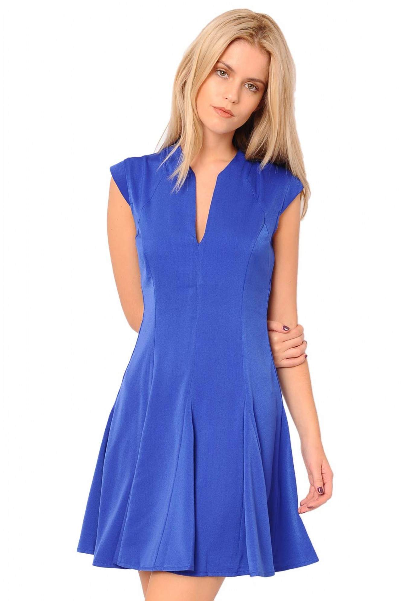 a277c6dd478a More Views. Deva V Neck Plain Skater Dress ...