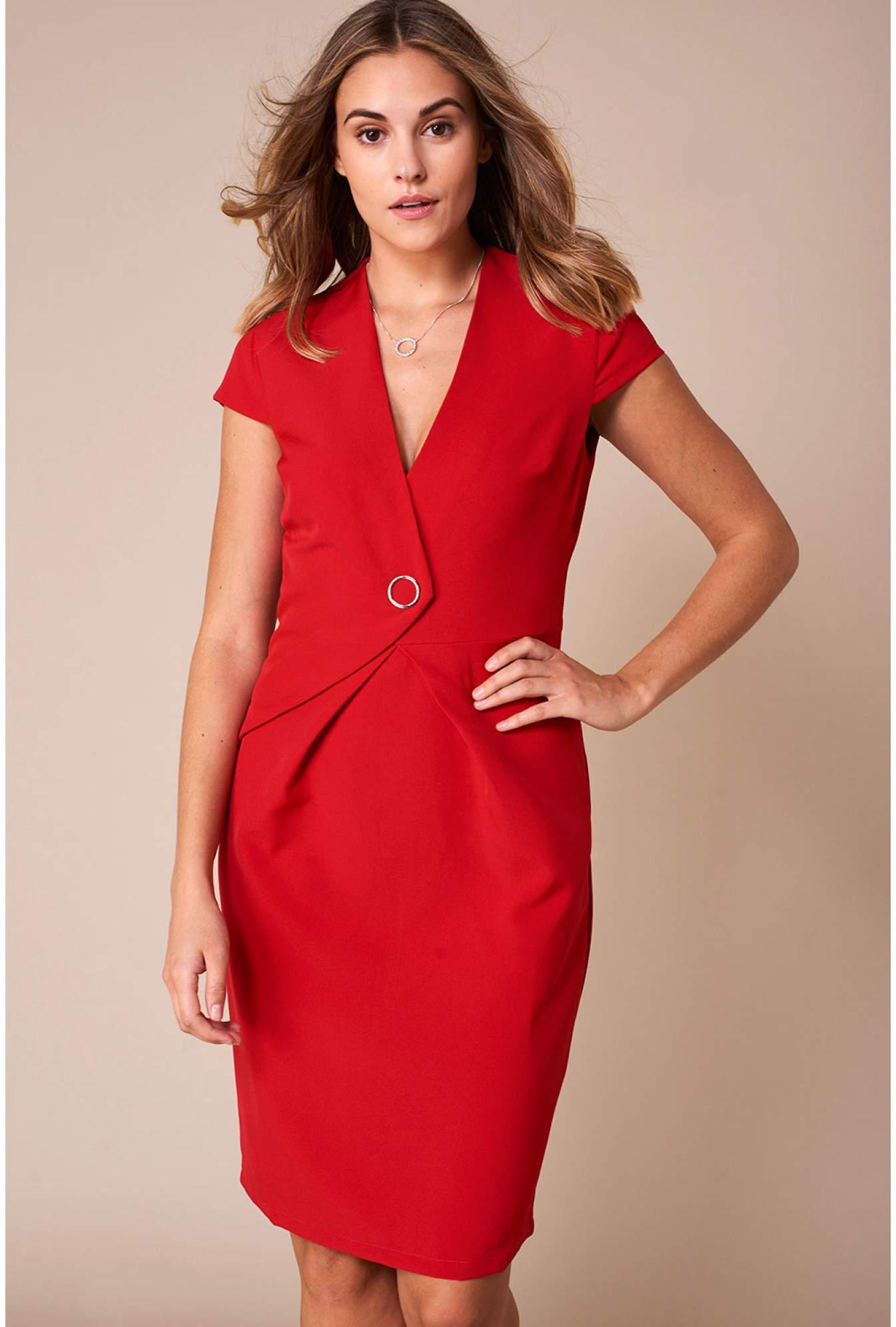25cdd65817 Marc Angelo Reese Cap Sleeve Pencil Dress in Red