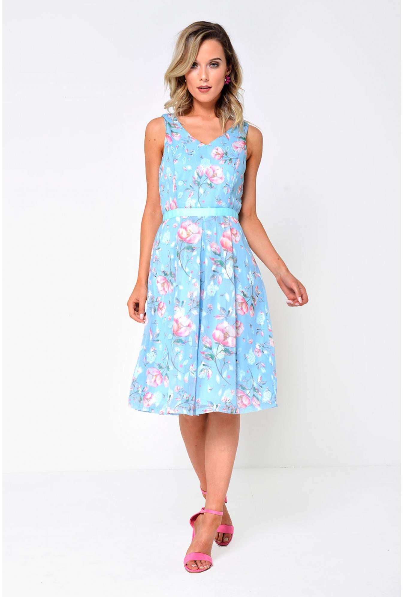 da48099138 Marc Angelo Jade Floral Dress in Light Blue | iCLOTHING