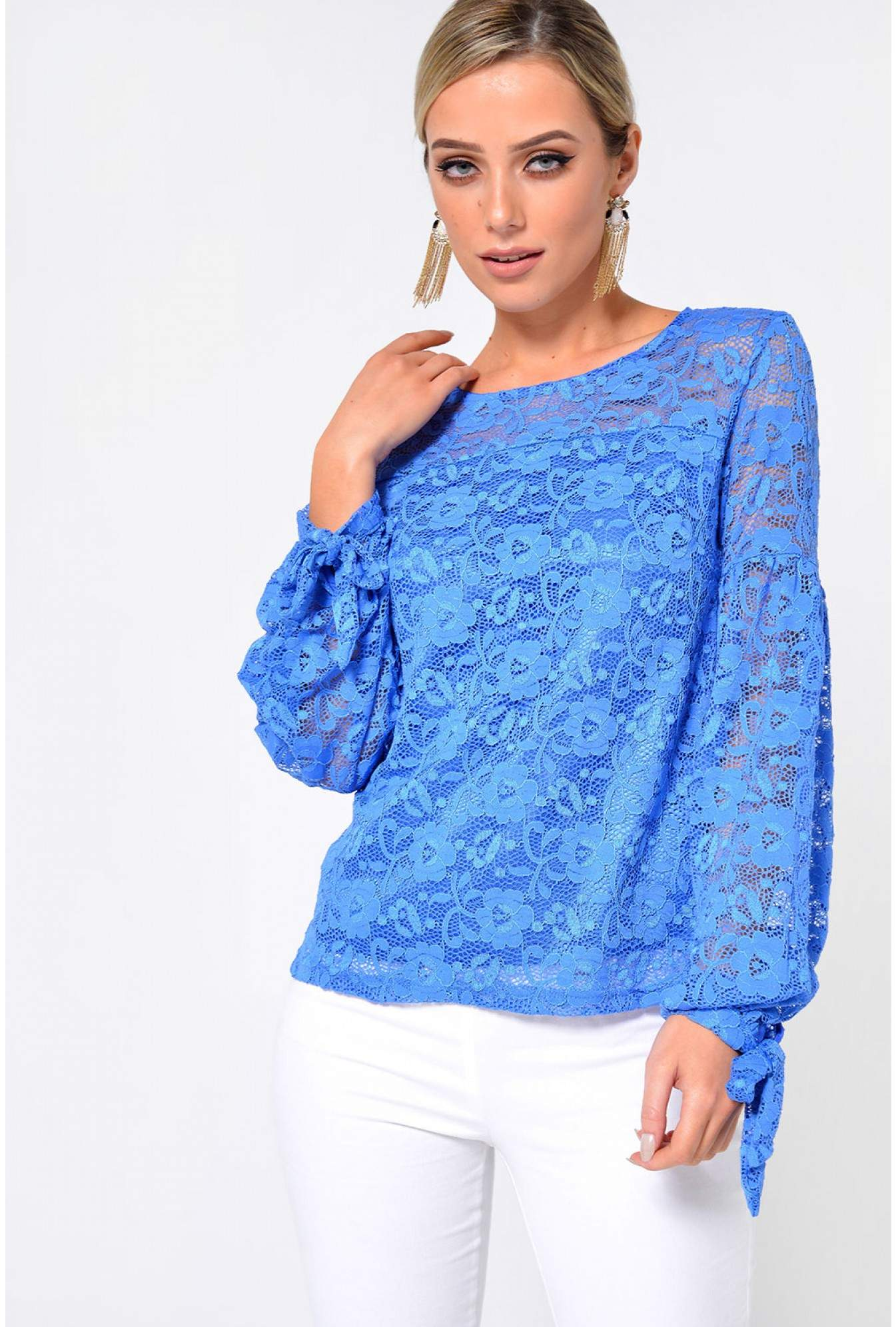 1c9950d7705 Marc Angelo Pippa Long Sleeve Lace Top in Cornflower Blue